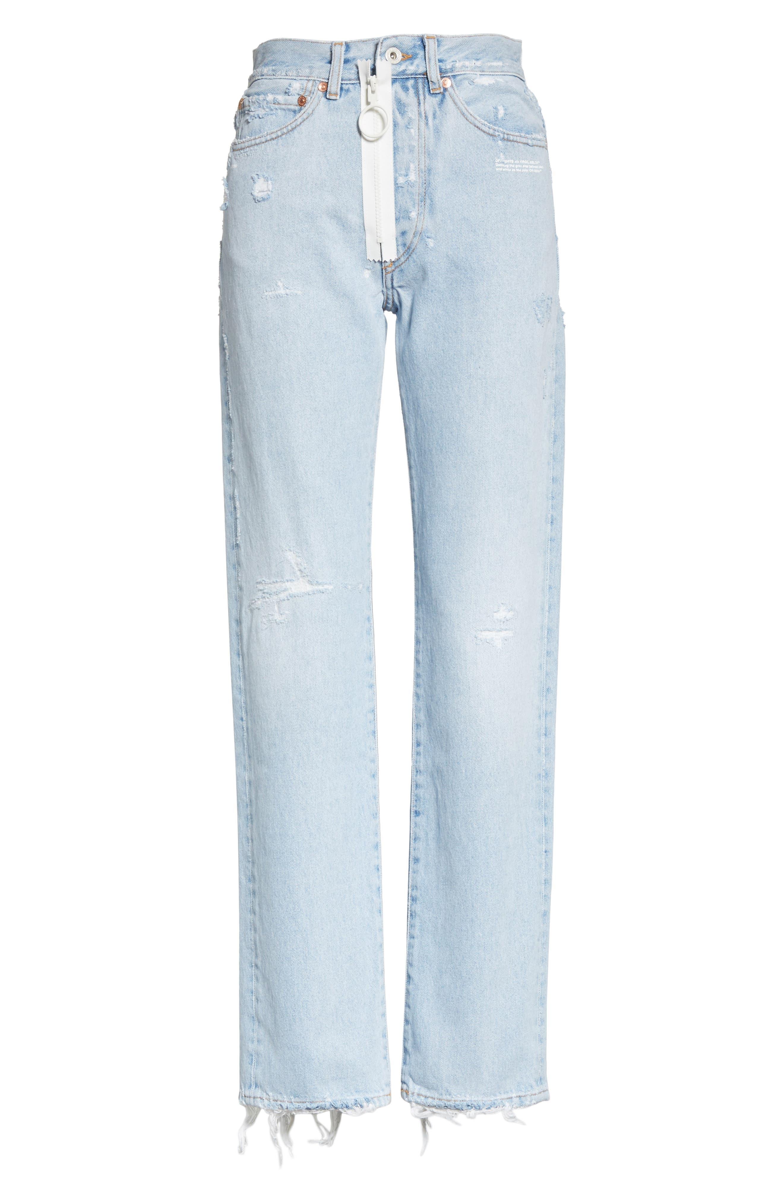 Distressed Straight Leg Jeans,                             Alternate thumbnail 6, color,                             400