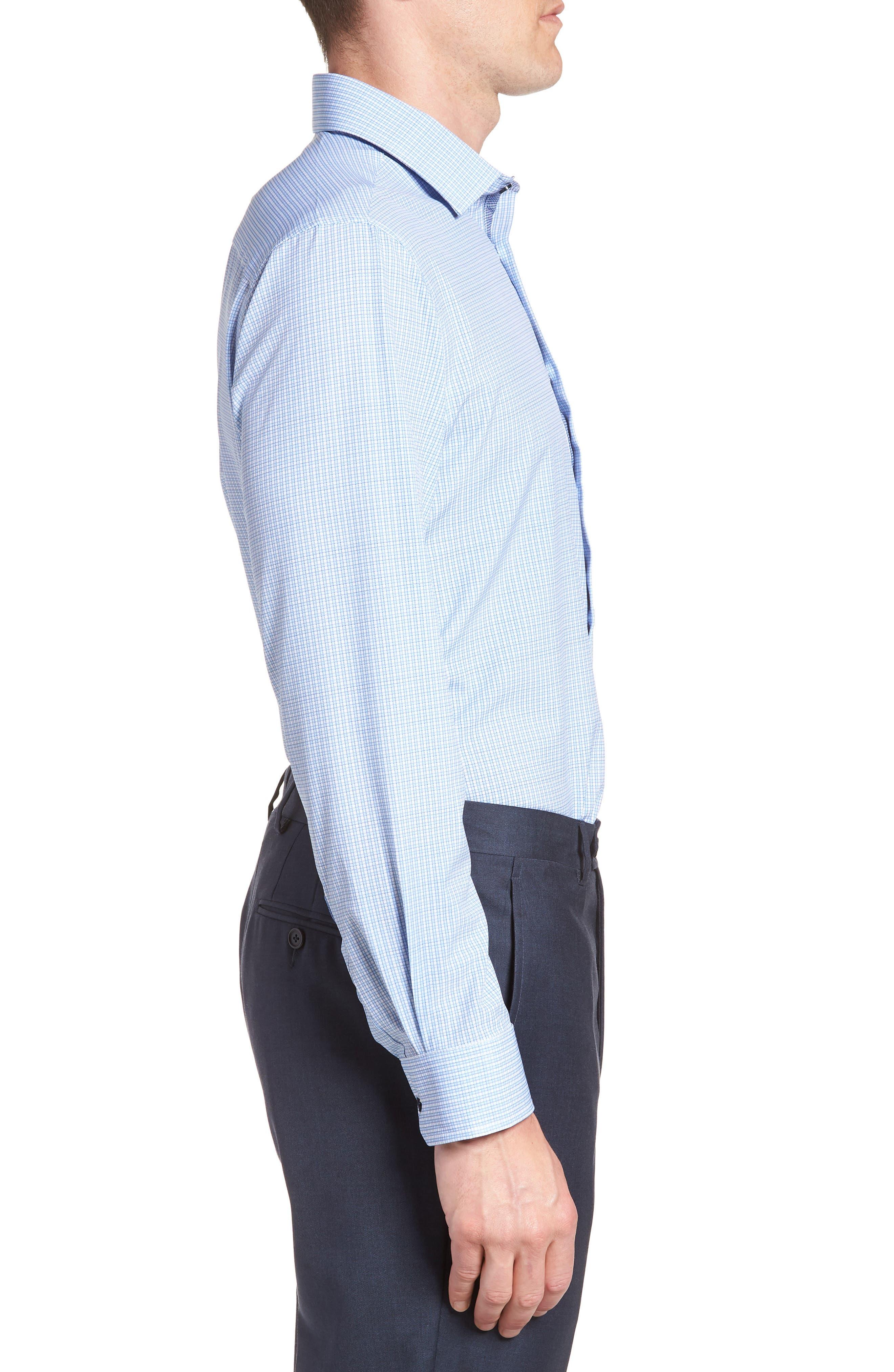 Trim Fit Check 4-Way Stretch Dress Shirt,                             Alternate thumbnail 4, color,                             BLUE