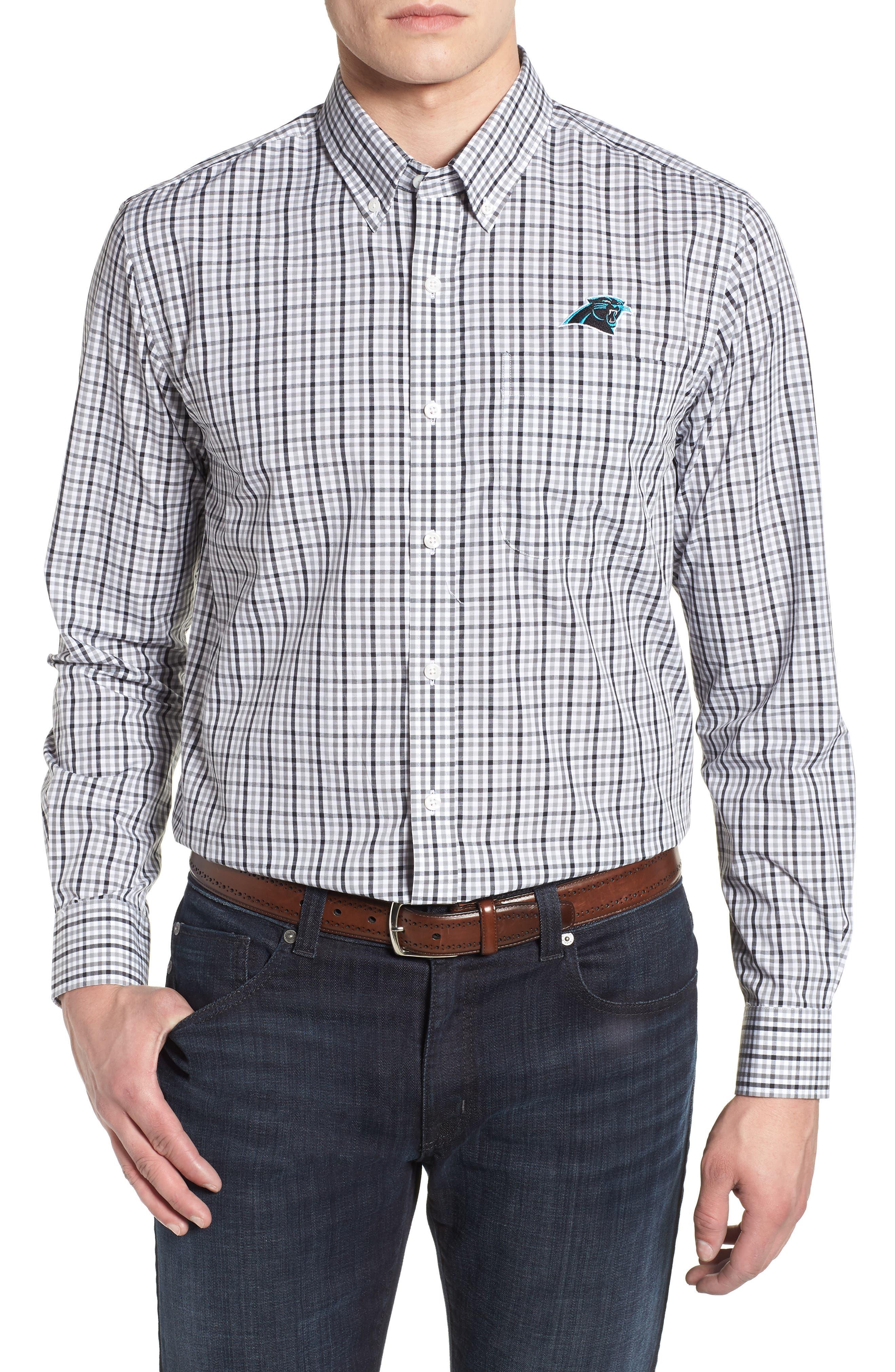 Carolina Panthers - Gilman Regular Fit Plaid Sport Shirt,                         Main,                         color, BLACK