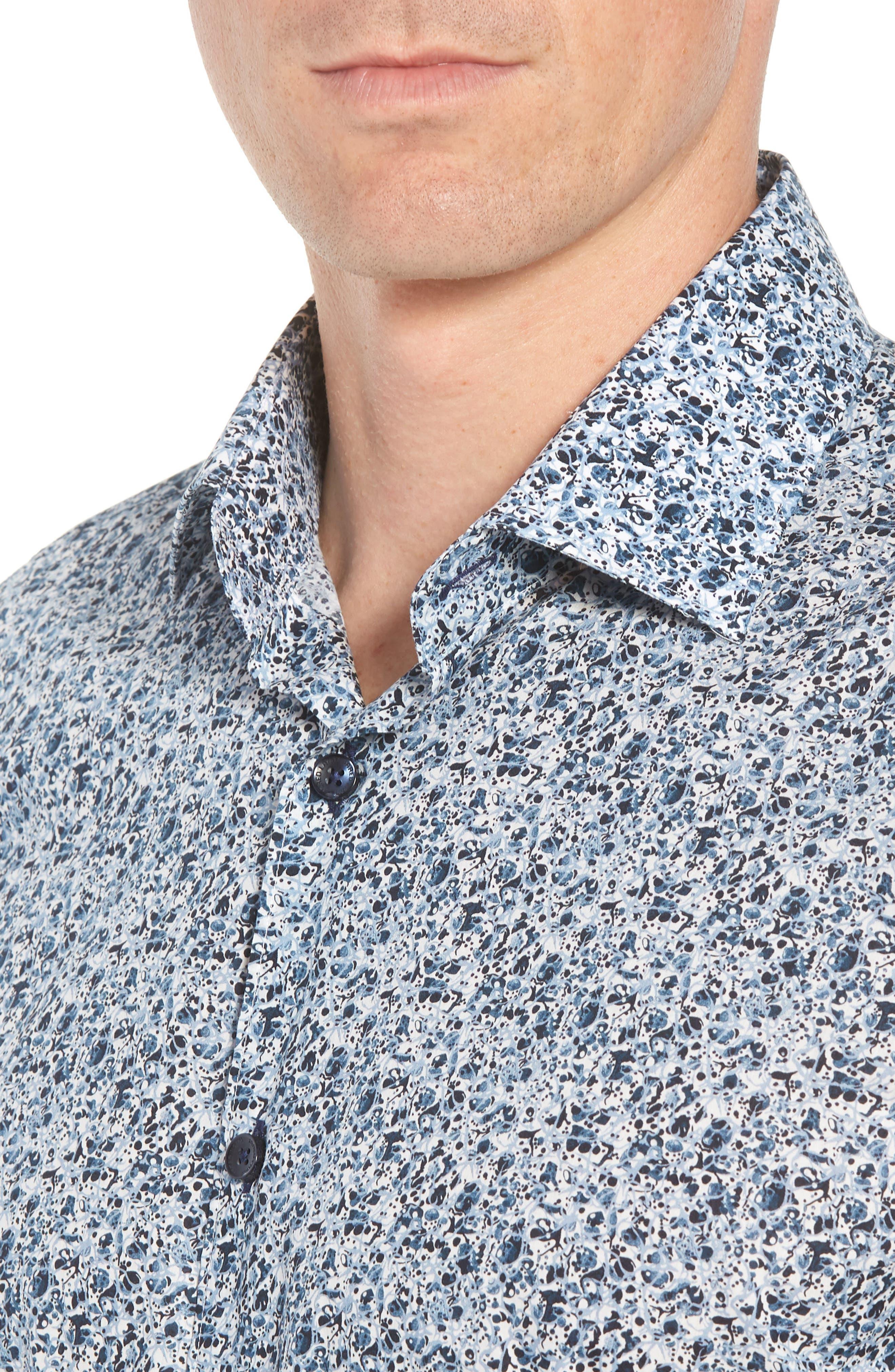 Speckle Print Sport Shirt,                             Alternate thumbnail 4, color,                             BLUE SPECKLE