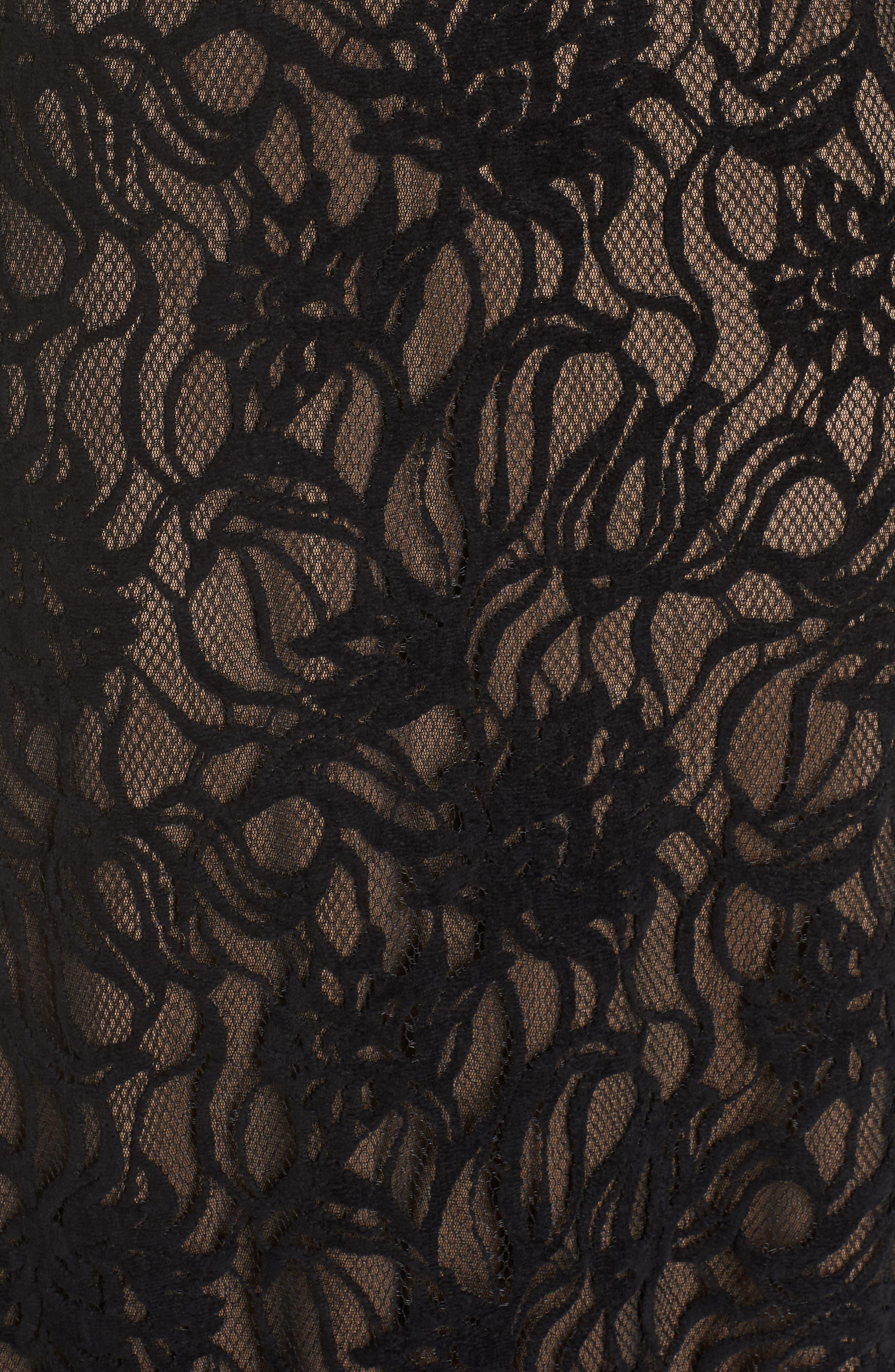 Burnout Lace Gown,                             Alternate thumbnail 6, color,                             BLACK/ NUDE