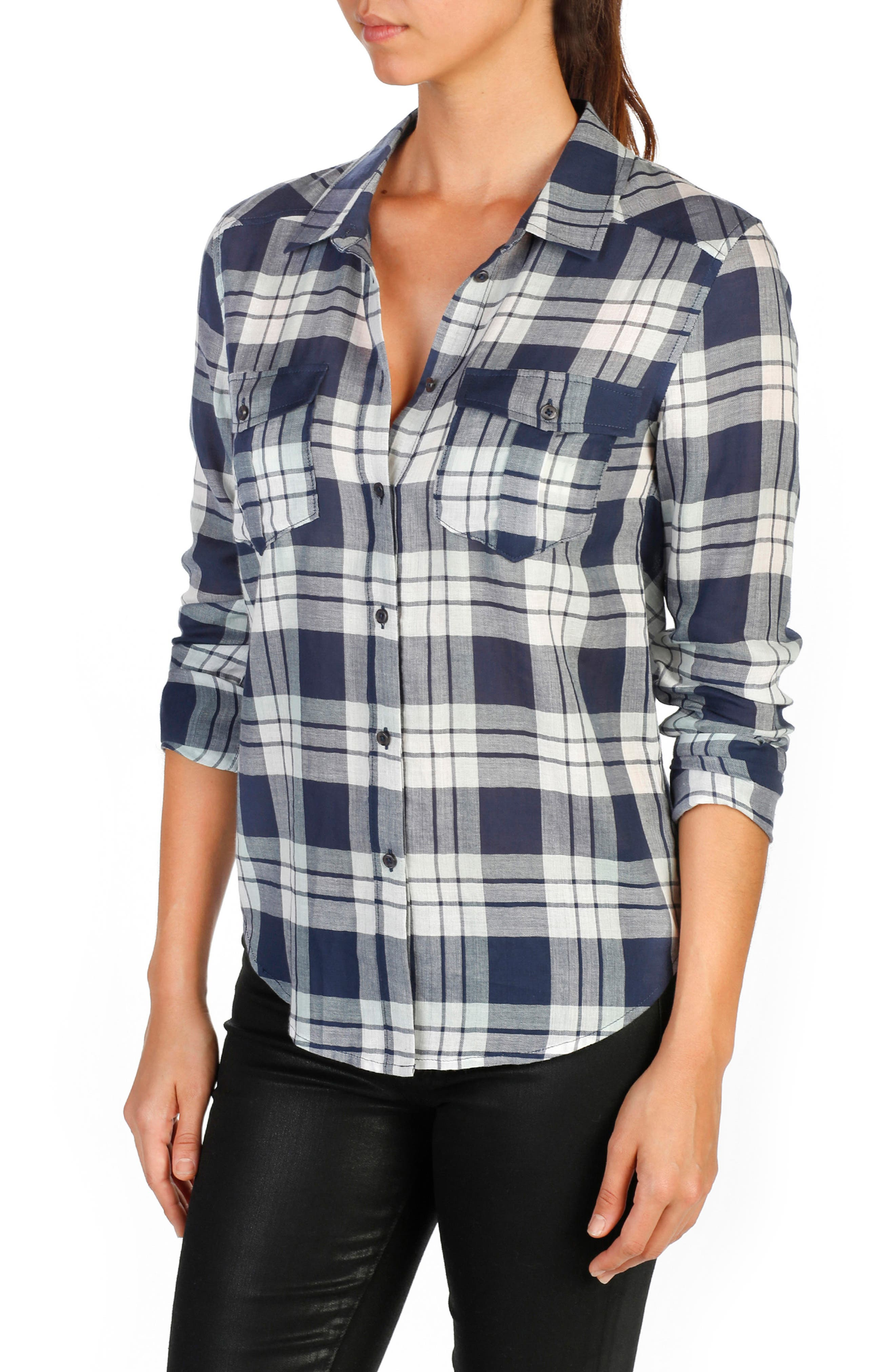 Mya Plaid Cotton Shirt,                             Main thumbnail 2, color,