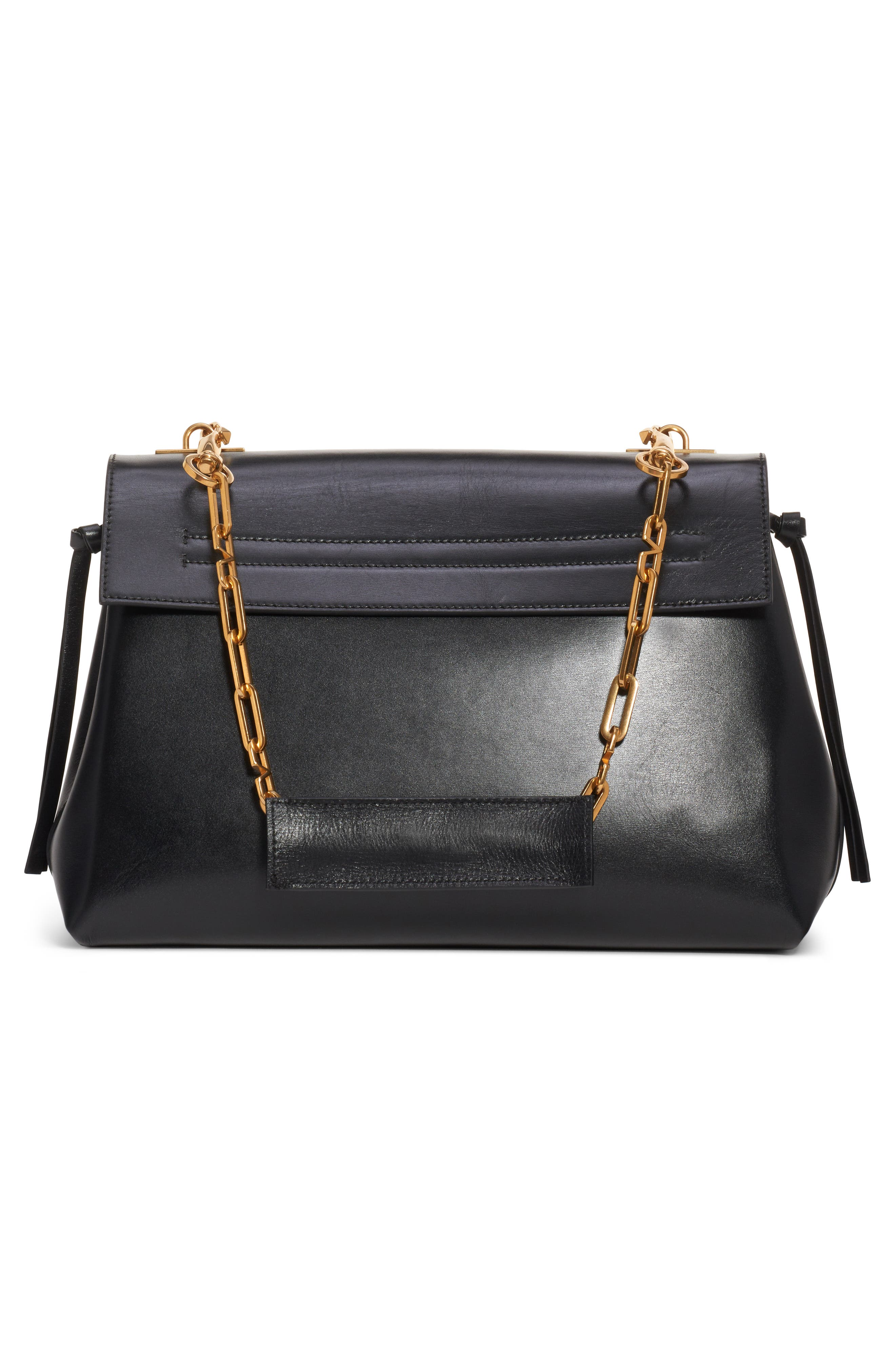 Medium Vee Ring Leather Shoulder Bag,                             Alternate thumbnail 2, color,                             NERO