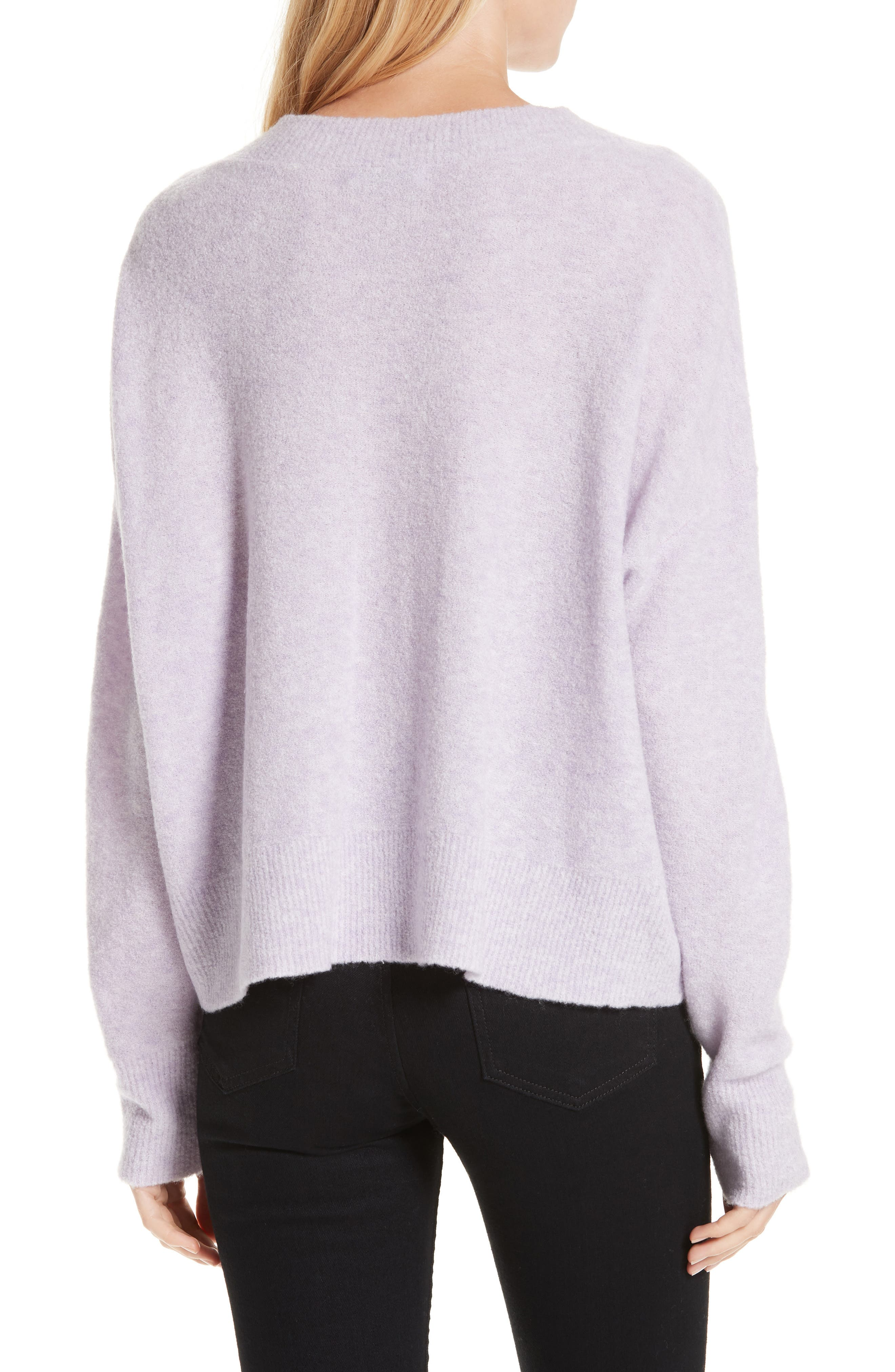Cashmere Blend Bouclé Sweater,                             Alternate thumbnail 2, color,                             PURPLE HEIRLOOM HEATHER