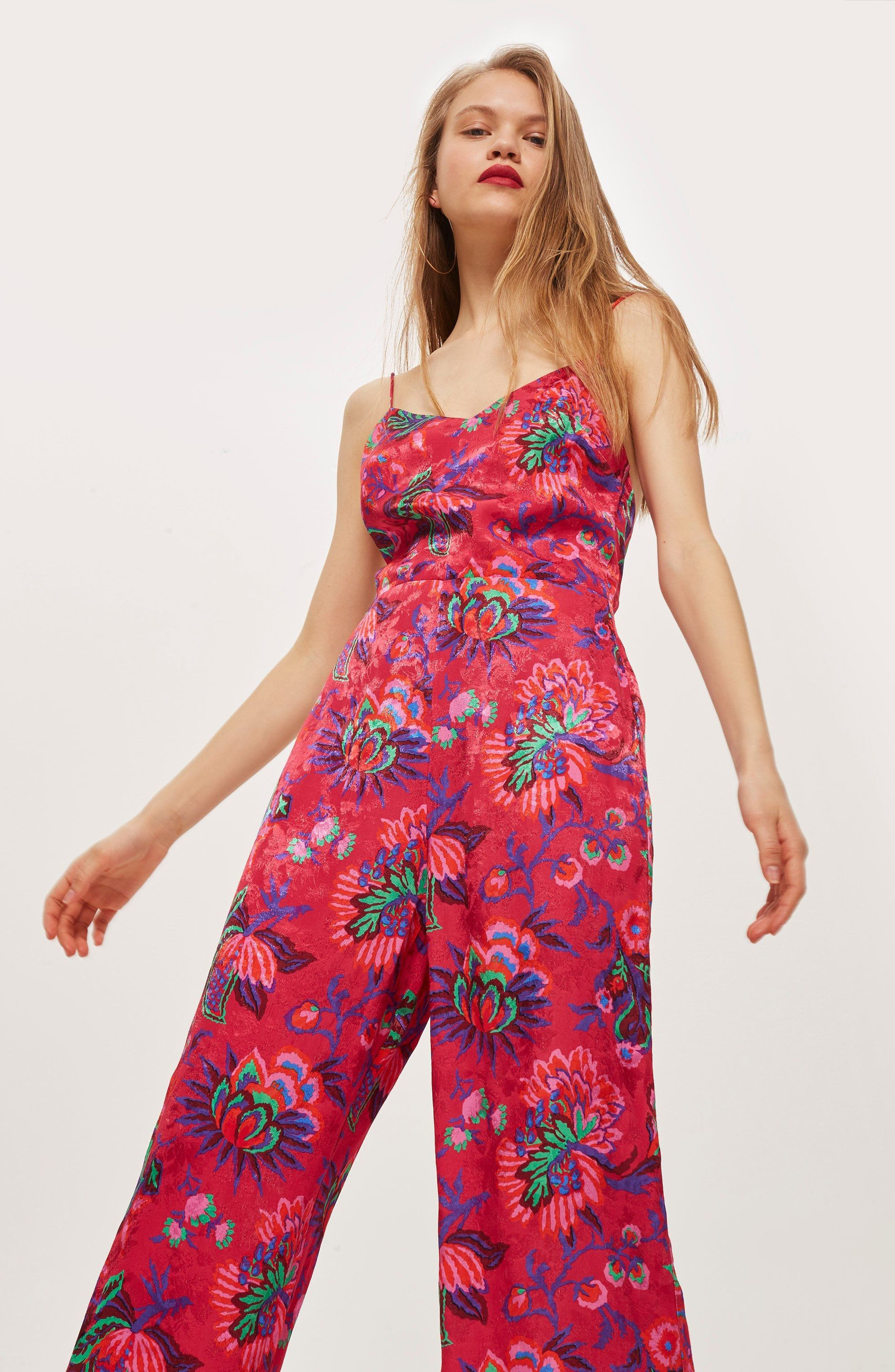Sleeveless Floral Jumpsuit,                             Alternate thumbnail 6, color,                             650