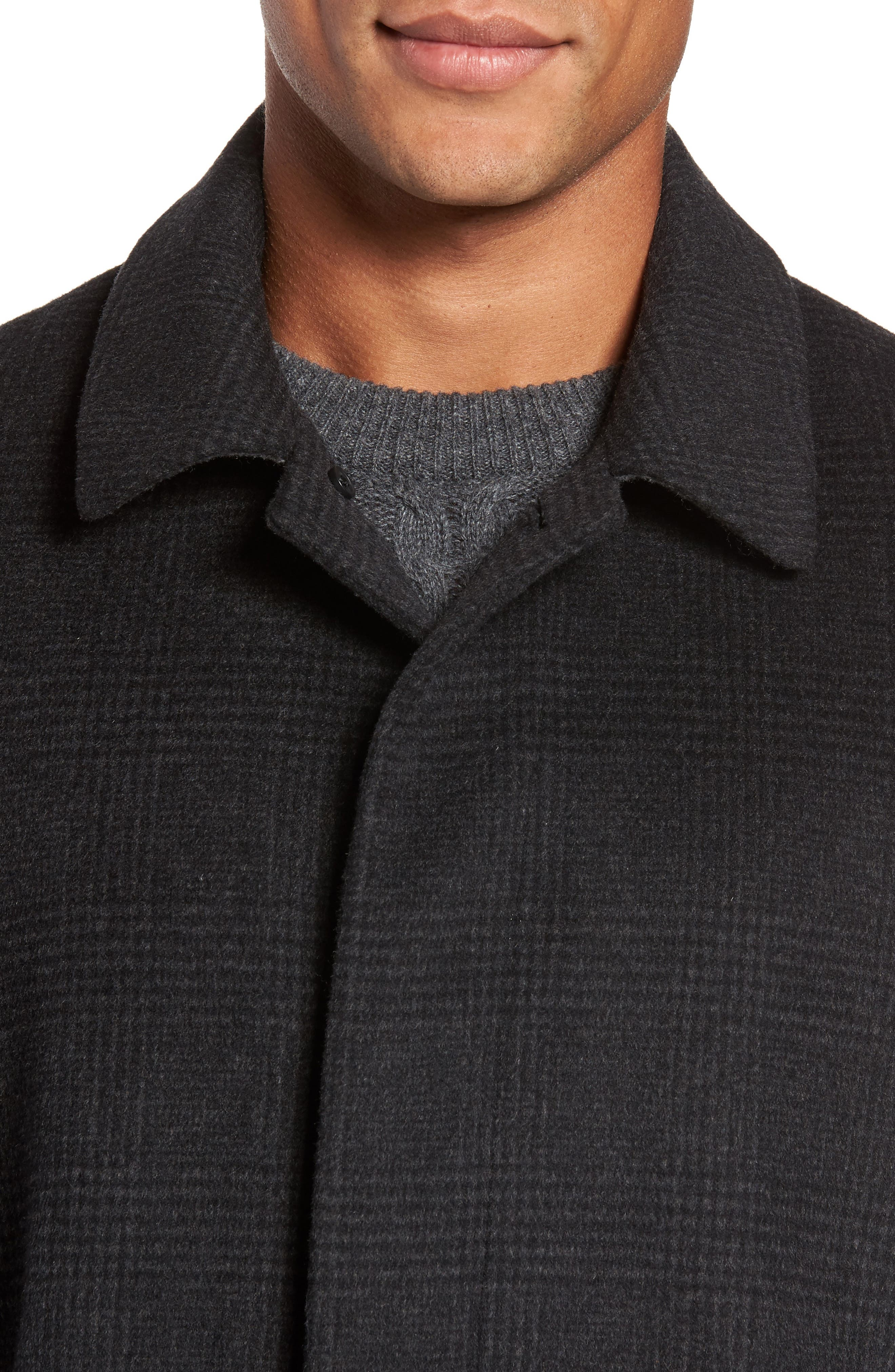 Turner Plaid Wool Blend Topcoat,                             Alternate thumbnail 4, color,                             011