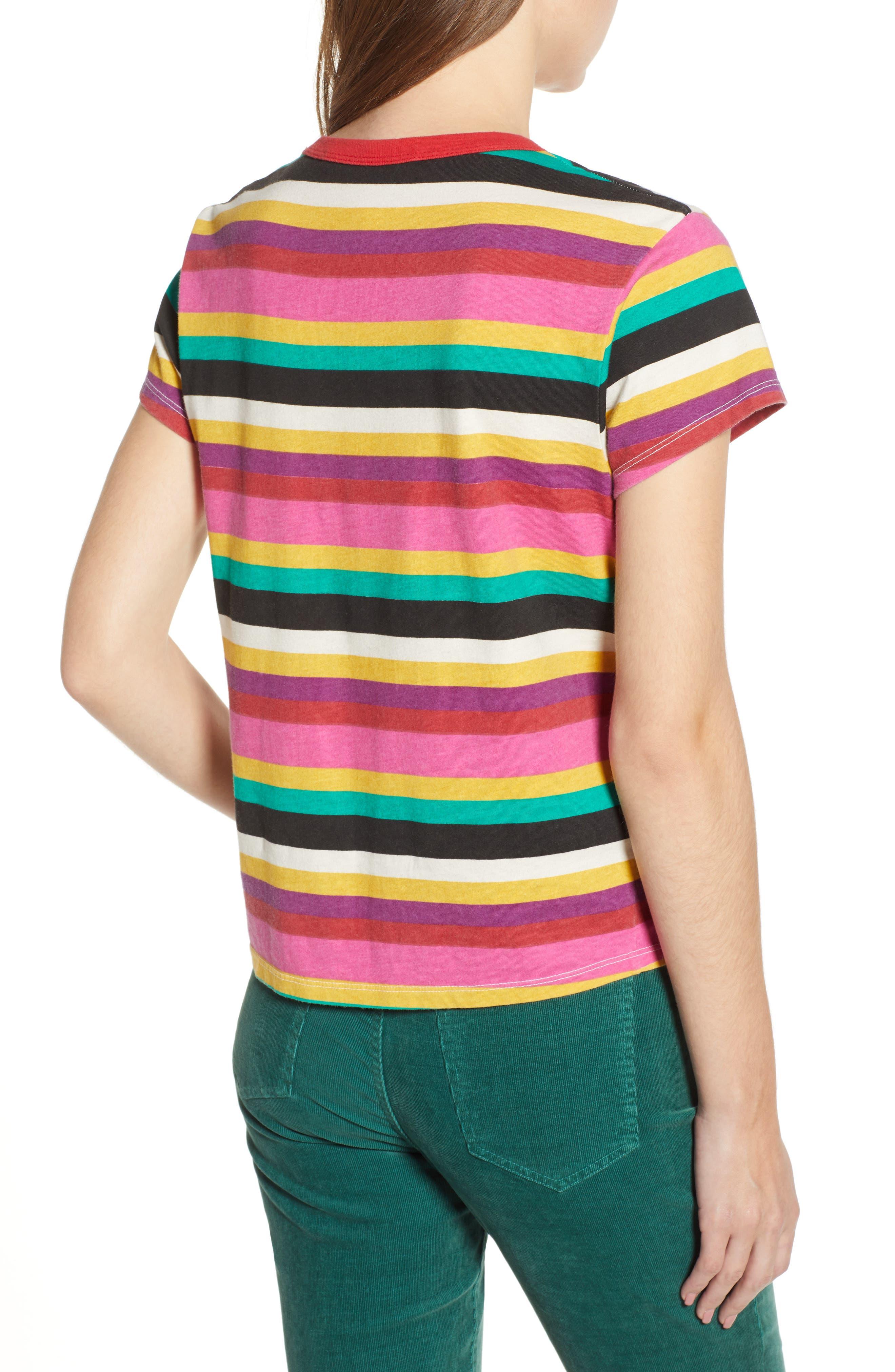Rainbow Stripe Tee,                             Alternate thumbnail 2, color,                             MULTICOLOR
