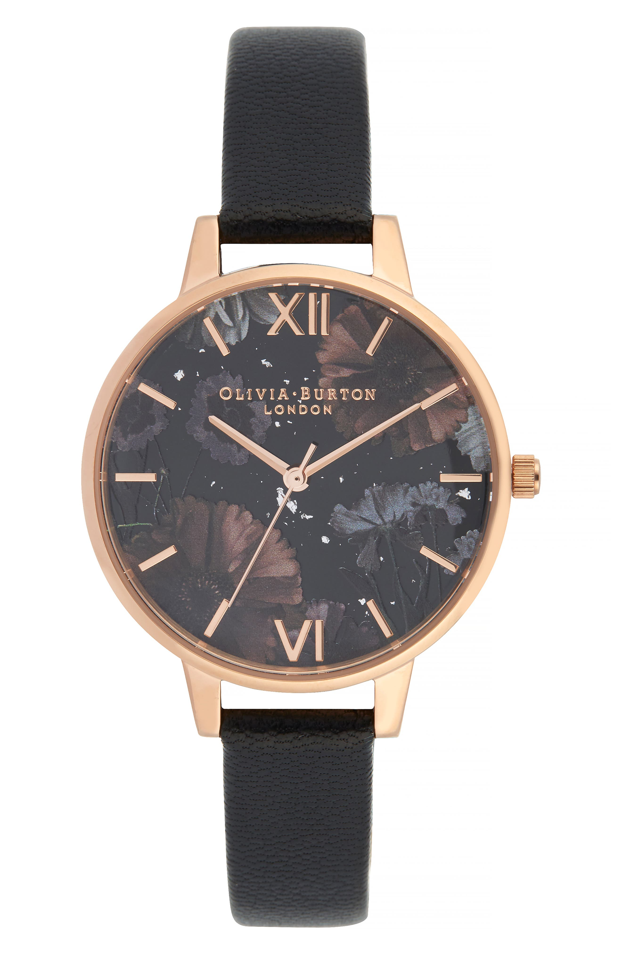 OLIVIA BURTON Celestial Leather Strap Watch, 34Mm in Black/ Floral/ Rose Gold