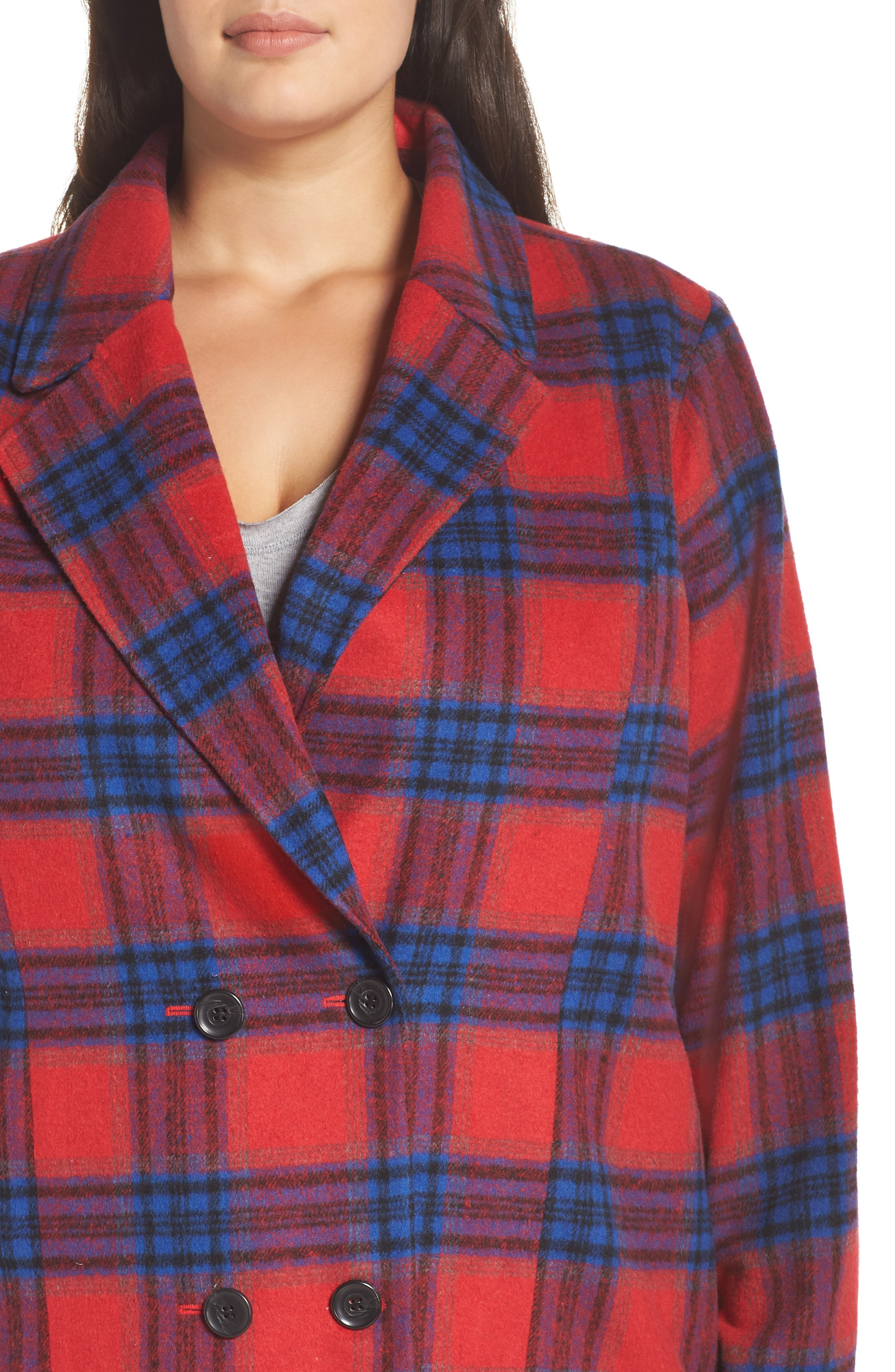 Double Breasted Plaid Jacket,                             Alternate thumbnail 4, color,                             RED CHINOISE RITA PLAID