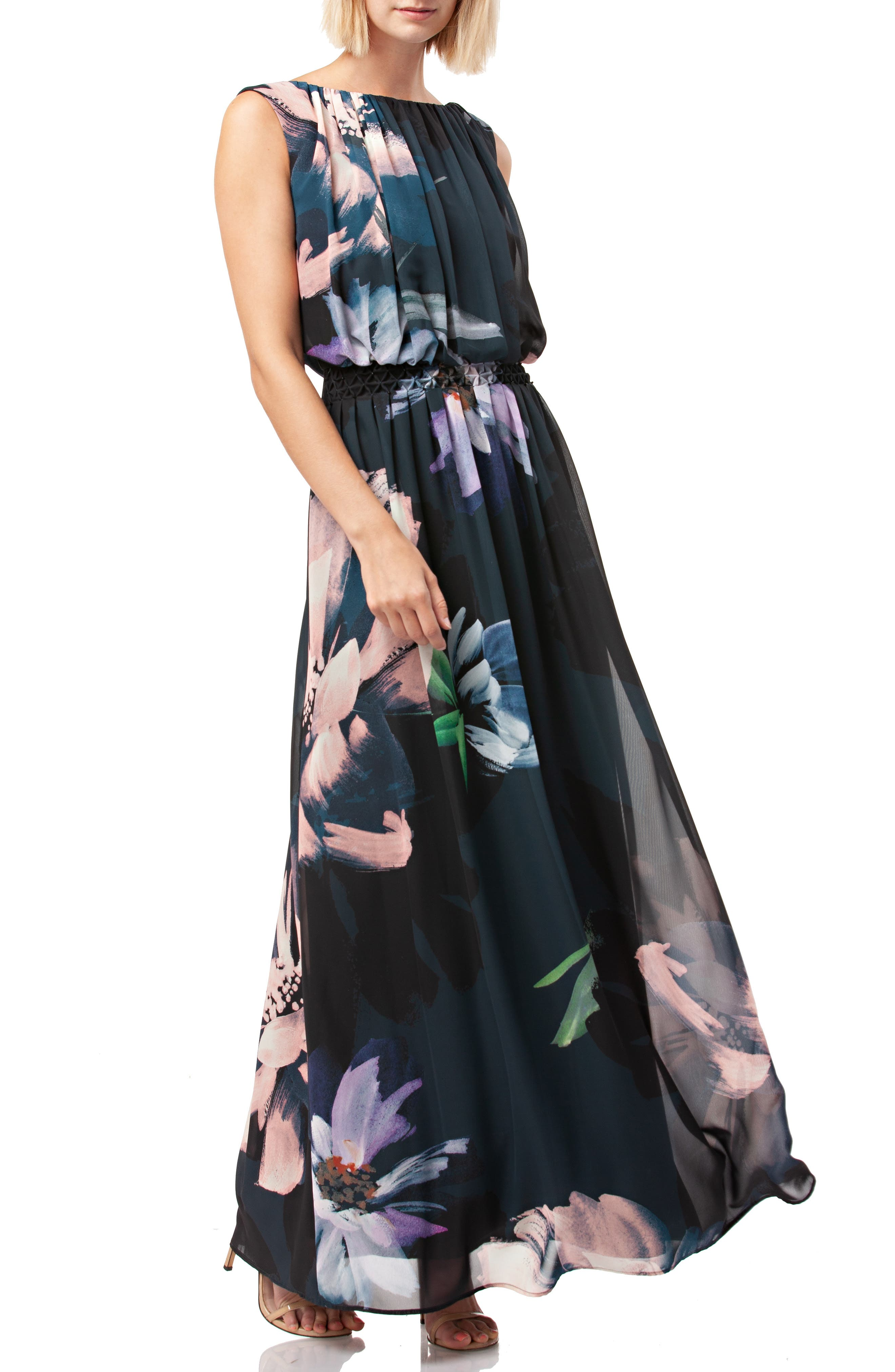 Floral Print Chiffon Gown,                             Alternate thumbnail 3, color,                             BLACK MULTI