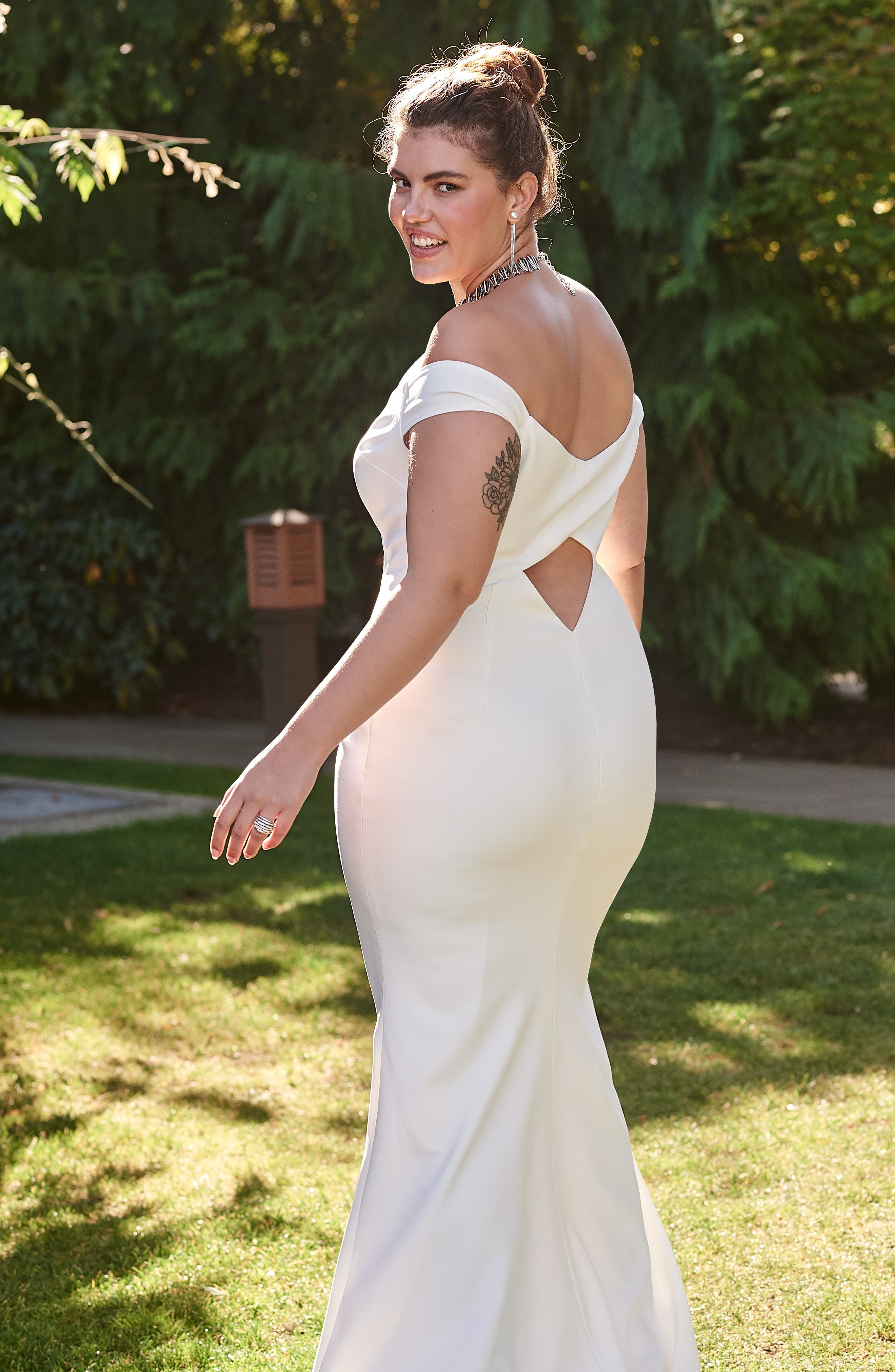 NOEL AND JEAN BY KATIE MAY,                             Alpha Off the Shoulder Dress,                             Alternate thumbnail 6, color,                             IVORY