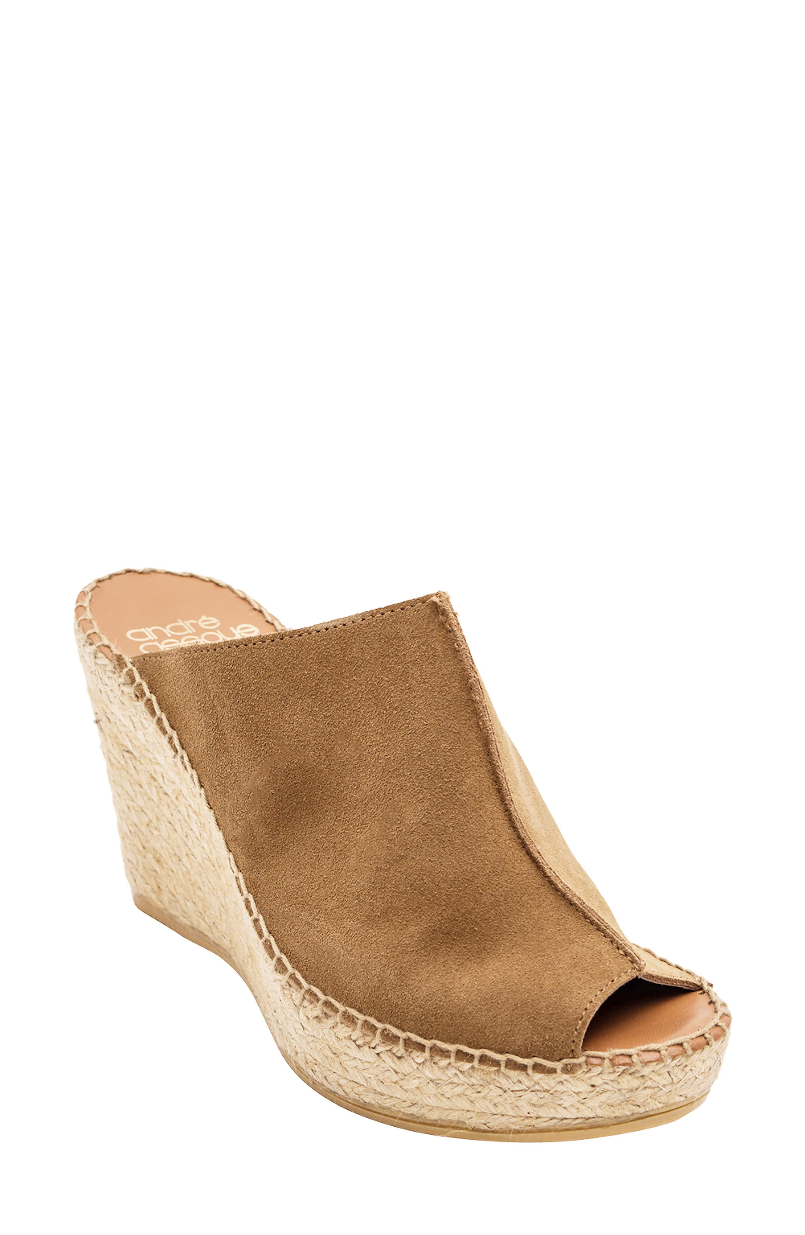 ANDRE ASSOUS Cici Espadrille Wedge in Camel Suede