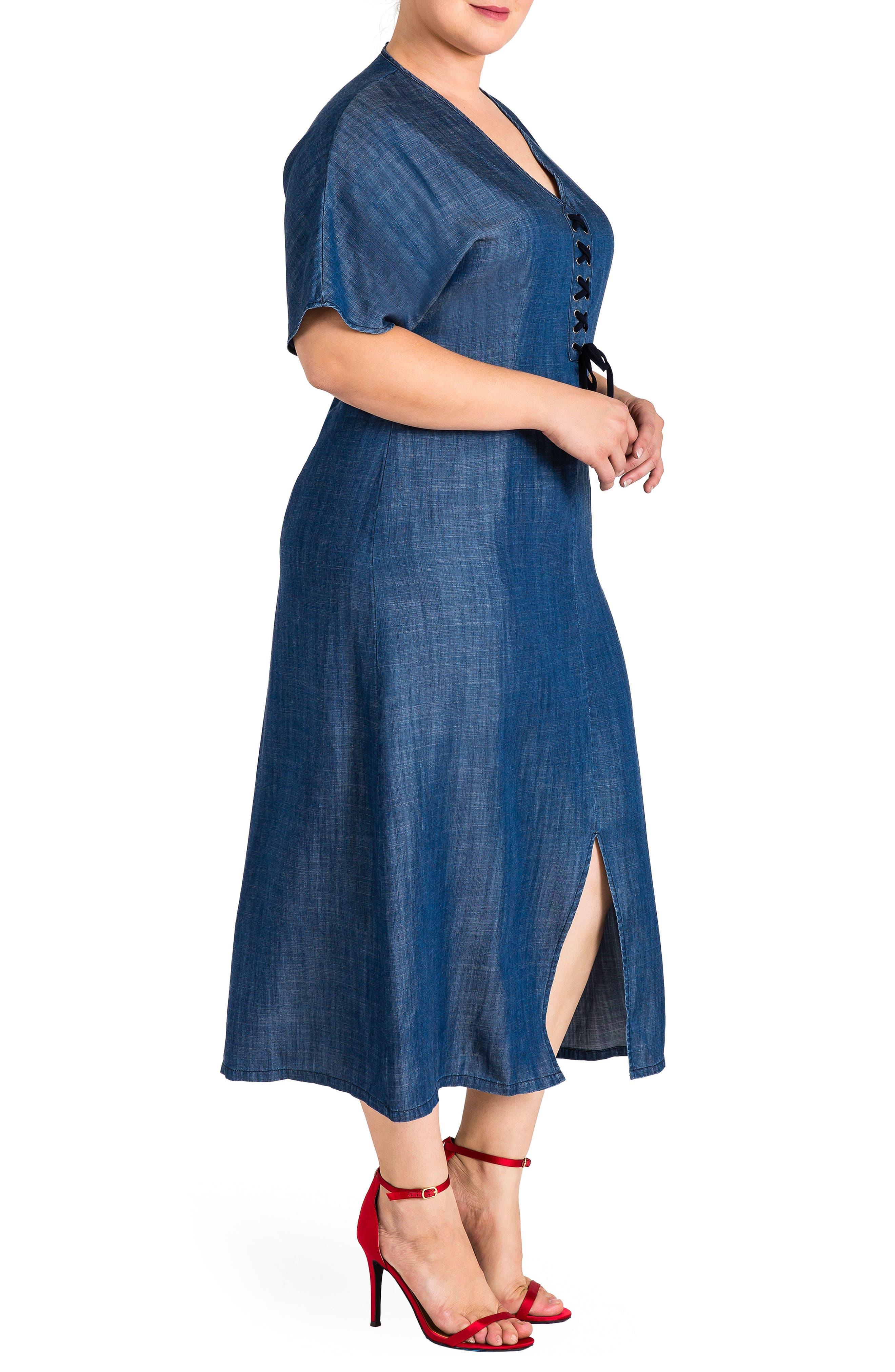 Standard & Practices Meme Tencel Midi Dress,                             Alternate thumbnail 3, color,                             NAVY