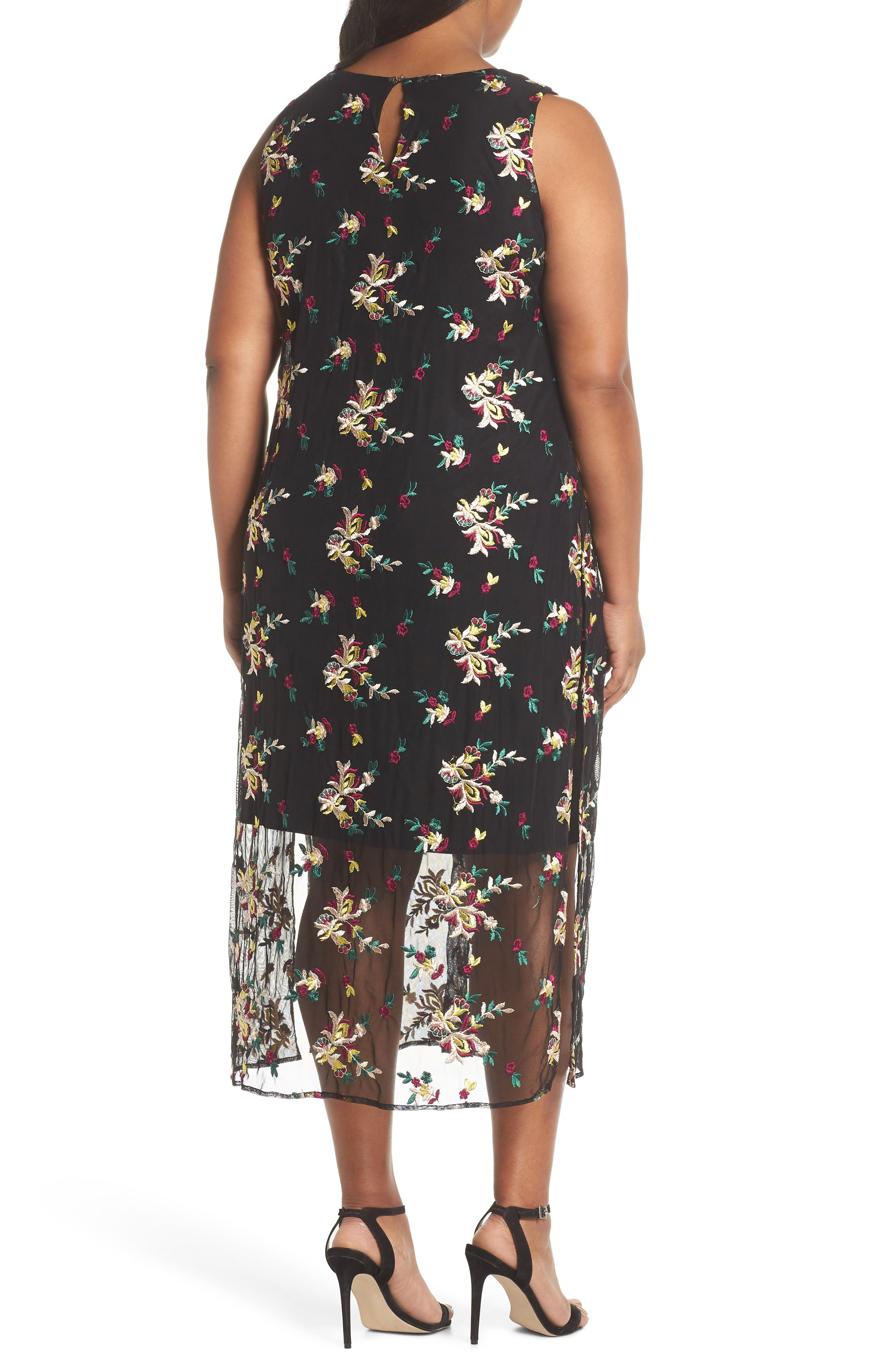 Tropical Embroidered Mesh Overlay Dress,                             Alternate thumbnail 2, color,                             004