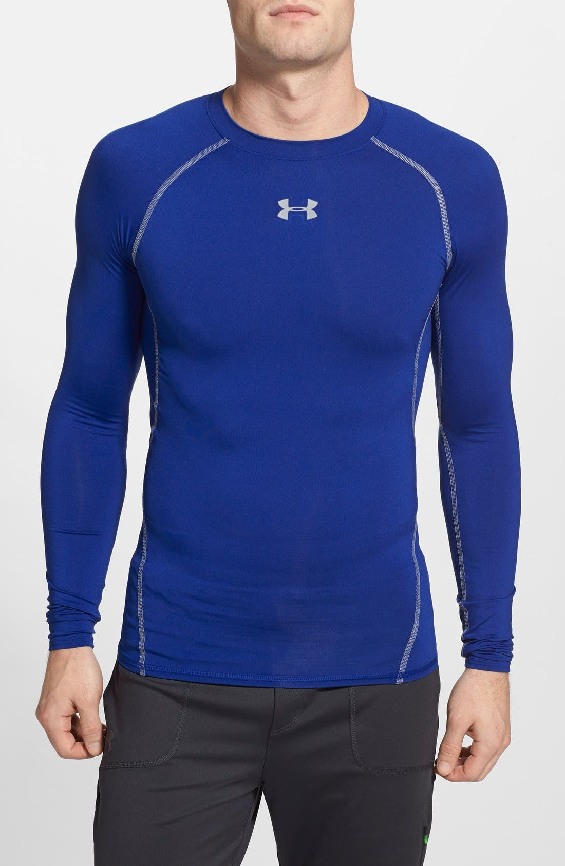 Under Armour Heatgear Compression Fit Long Sleeve T-Shirt, Blue