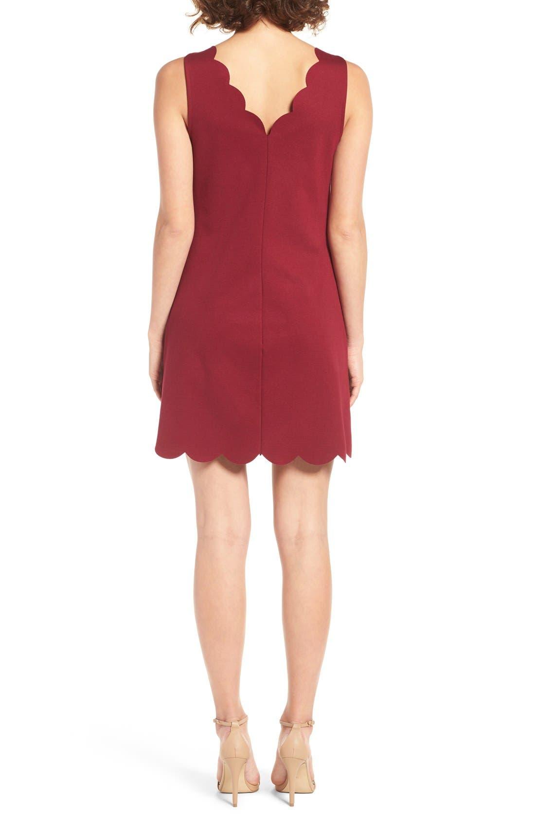 Scalloped V-Neck A-Line Dress,                             Alternate thumbnail 2, color,                             690
