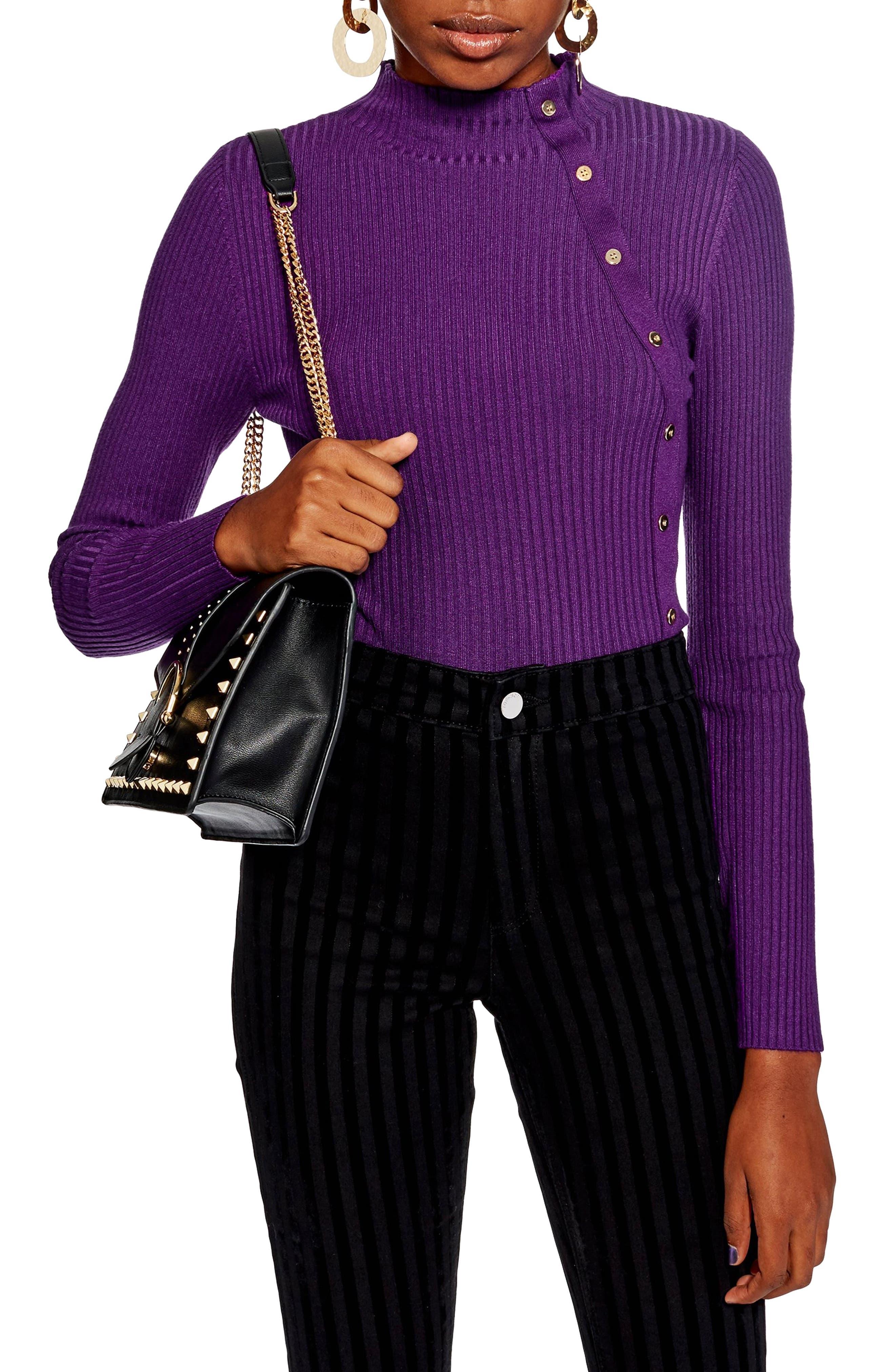 Side Button Rib Sweater,                         Main,                         color, PURPLE