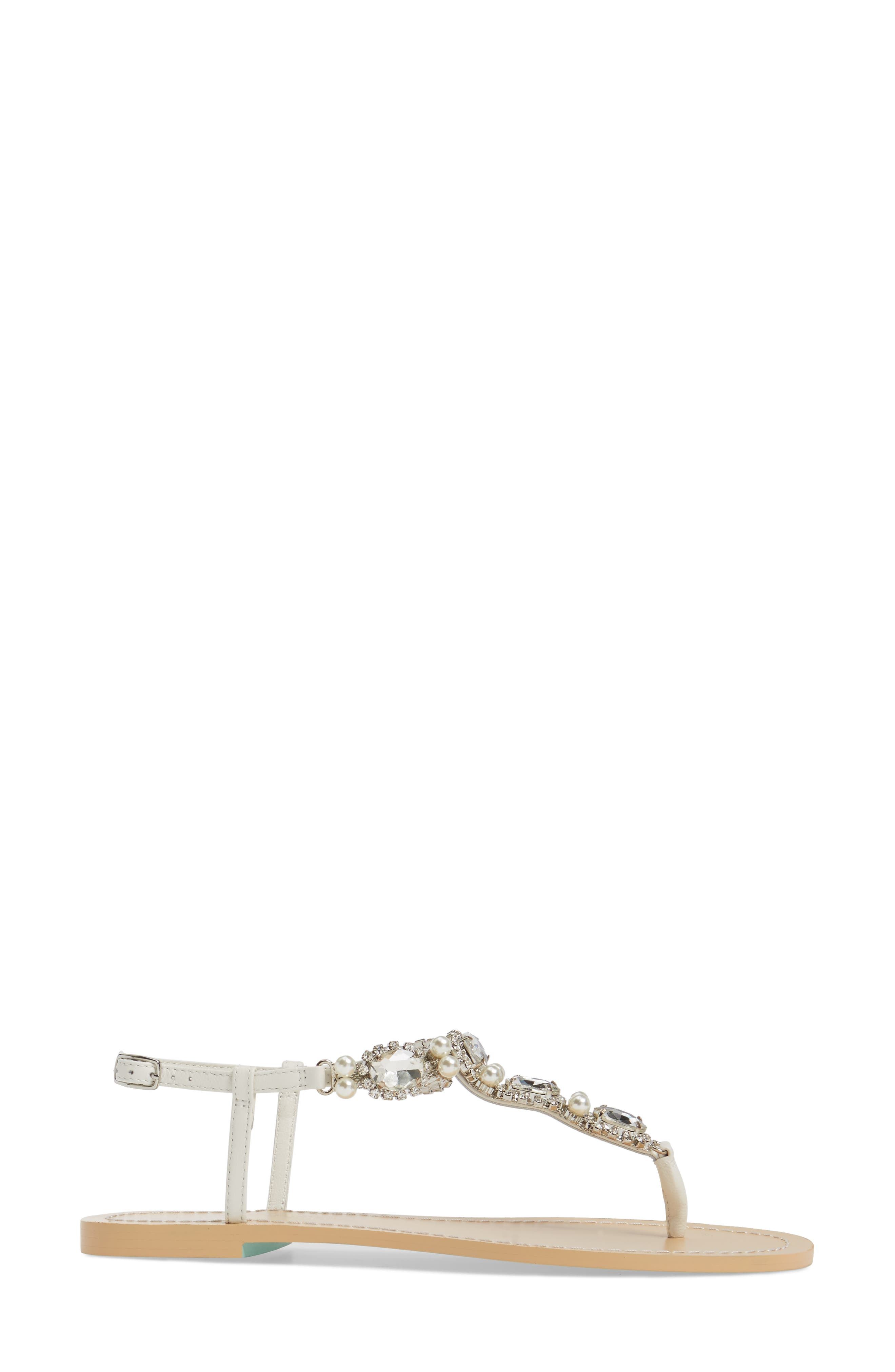 Hera Embellished T-Strap Sandal,                             Alternate thumbnail 3, color,                             OFF WHITE LEATHER