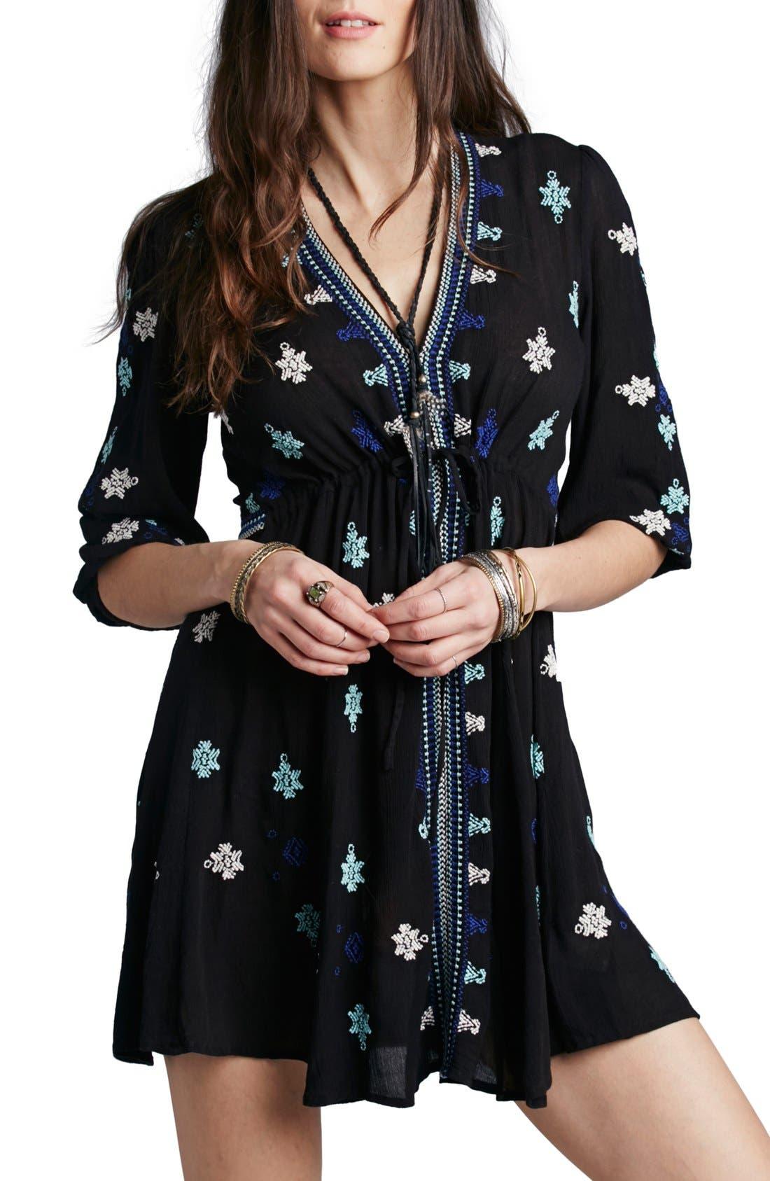 'Star Gazer' Embroidered Tunic Dress,                             Main thumbnail 1, color,                             001
