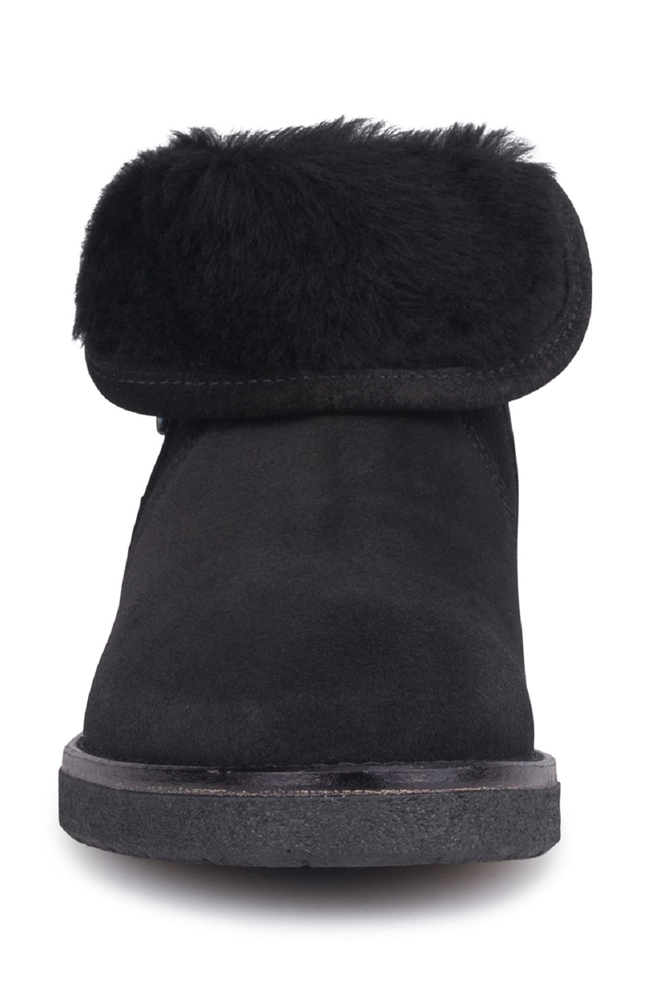 Rosie Genuine Shearling Lined Bootie,                             Alternate thumbnail 4, color,                             NERO