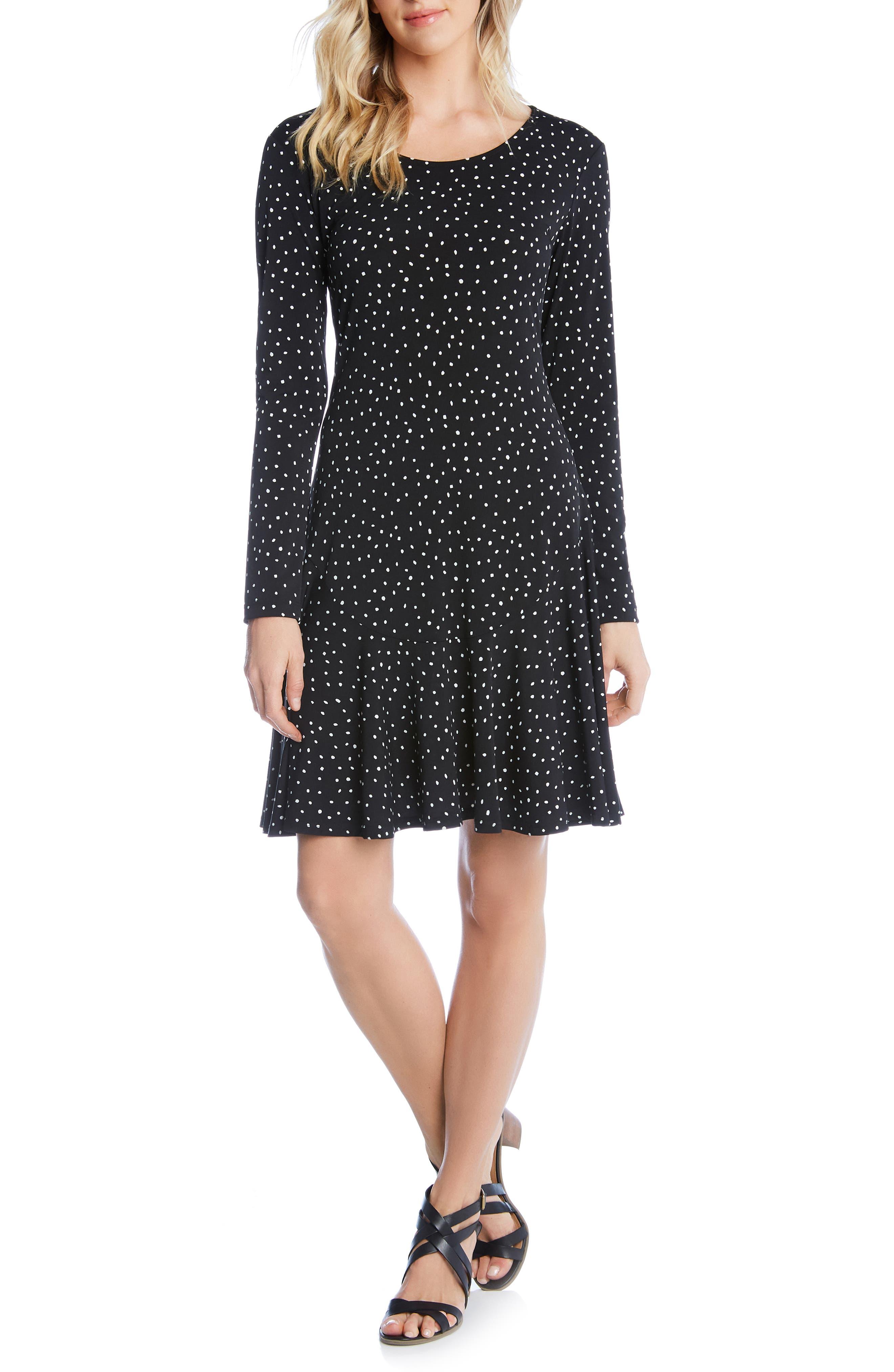 Karen Kane Dakota Dot Jersey A-Line Dress, Black