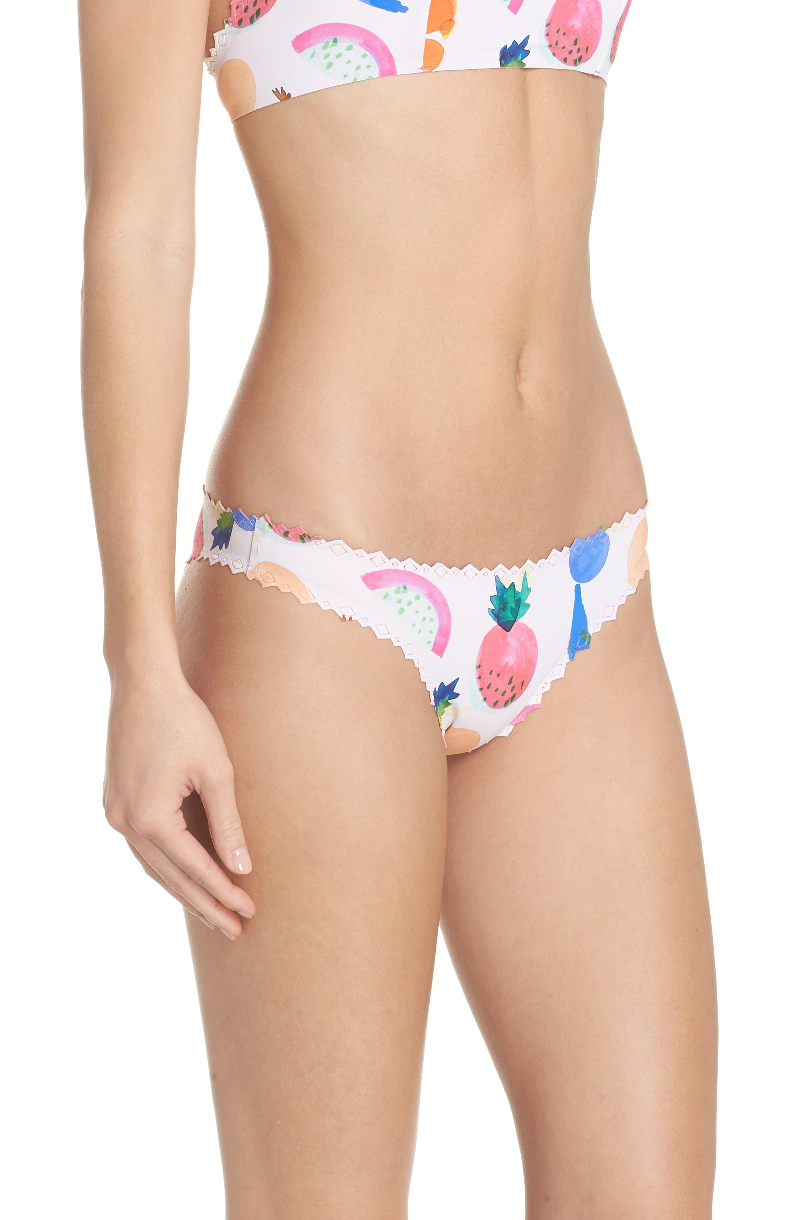 Seamless Scalloped Reversible Bikini Bottoms,                             Alternate thumbnail 3, color,                             COPACABANA