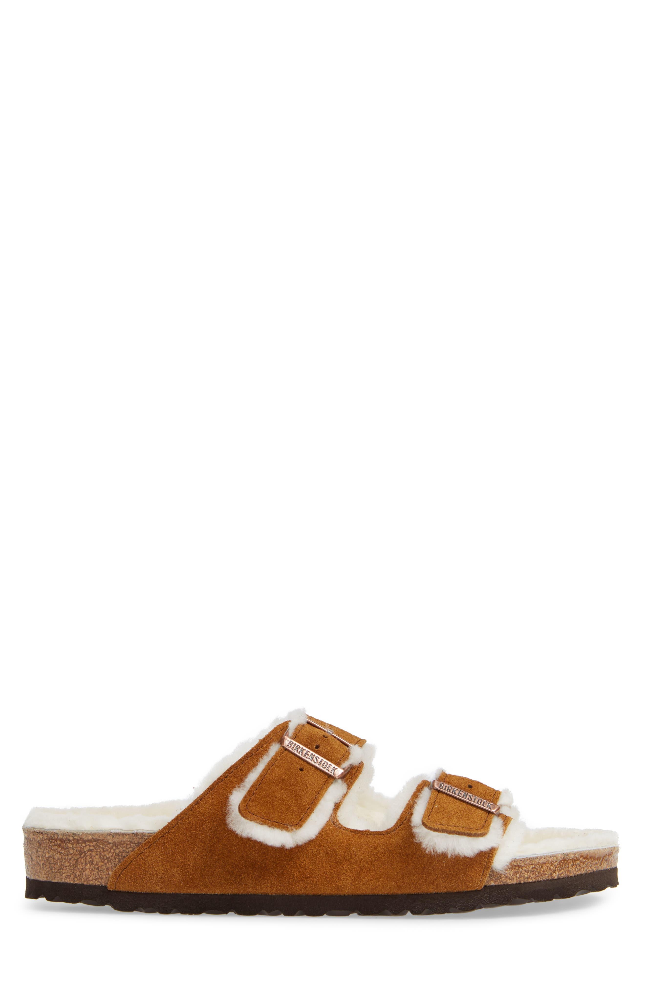Arizona Slide Sandal with Genuine Shearling,                             Alternate thumbnail 3, color,                             BEIGE
