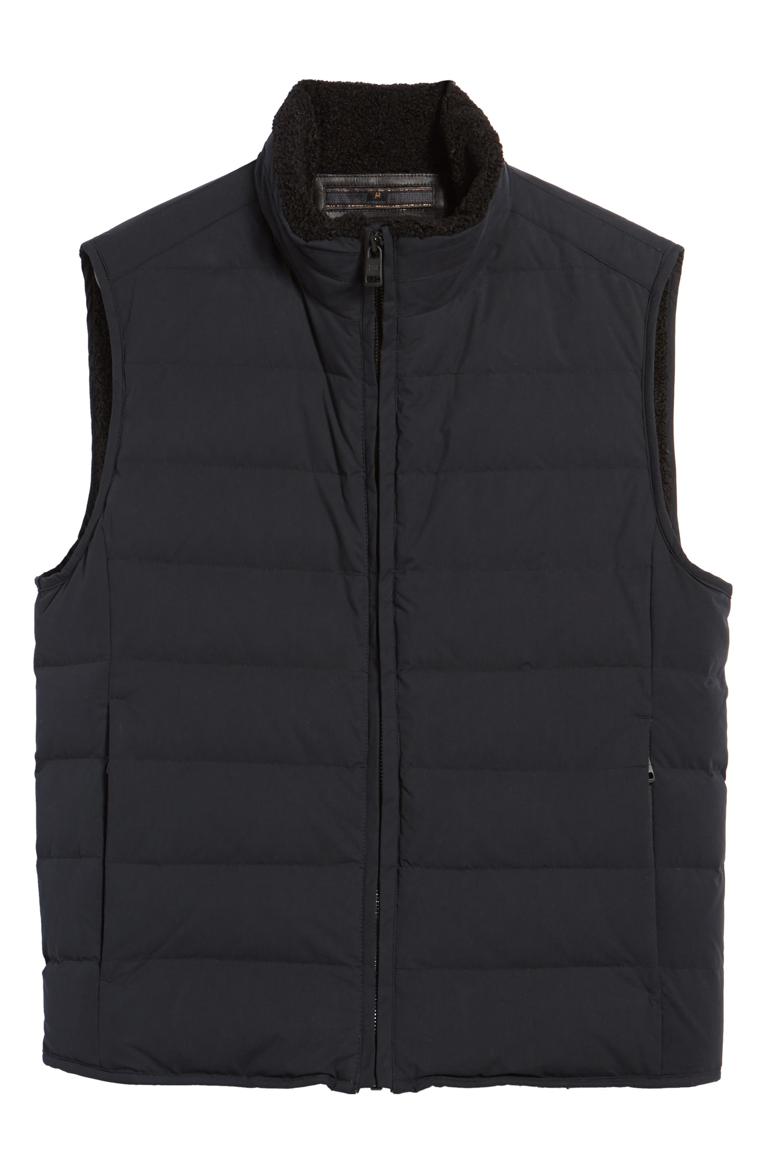 Quilted Down Vest with Faux Shearling Lining,                             Alternate thumbnail 5, color,