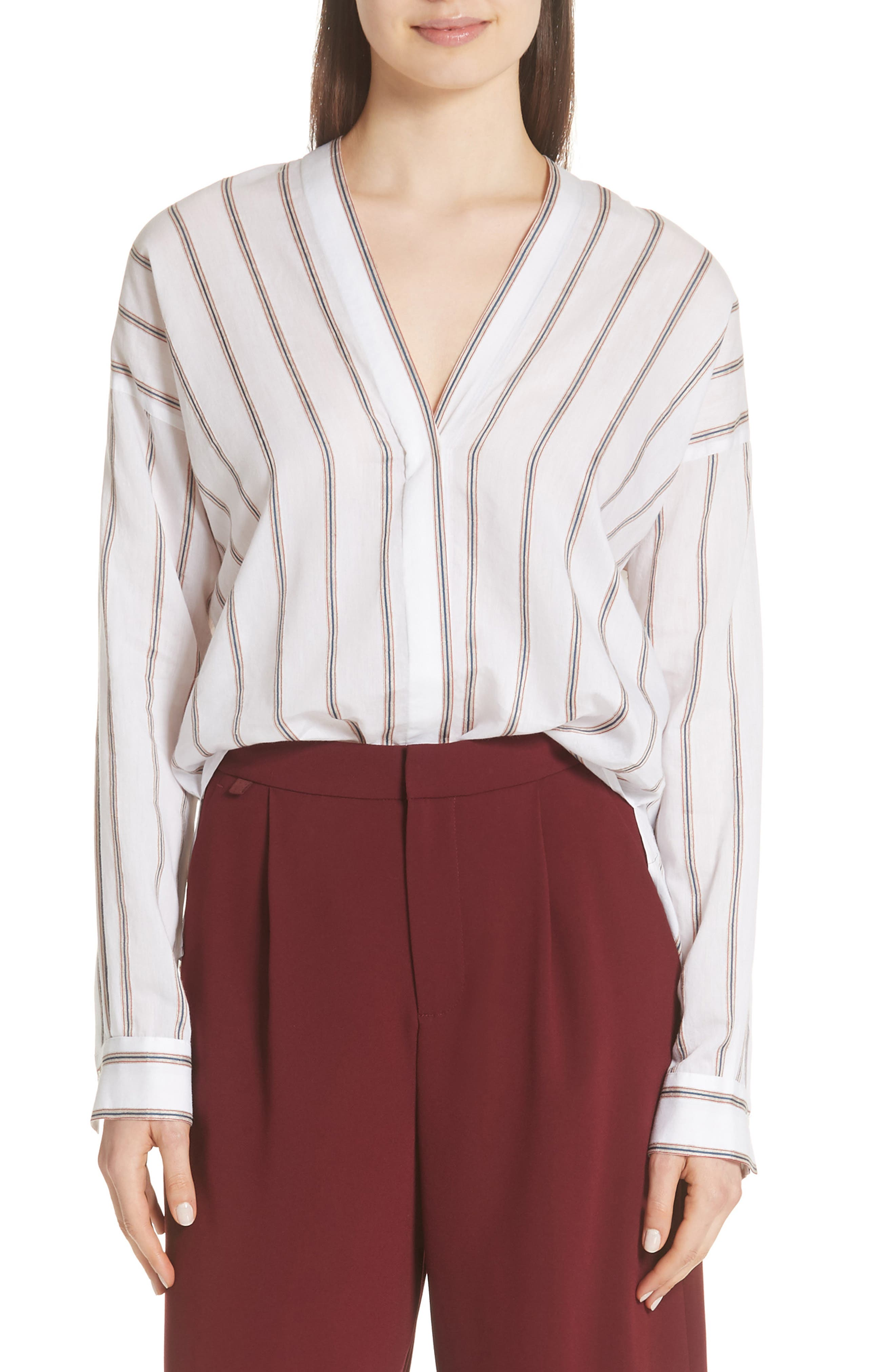 VINCE,                             Textured Stripe Blouse,                             Main thumbnail 1, color,                             137