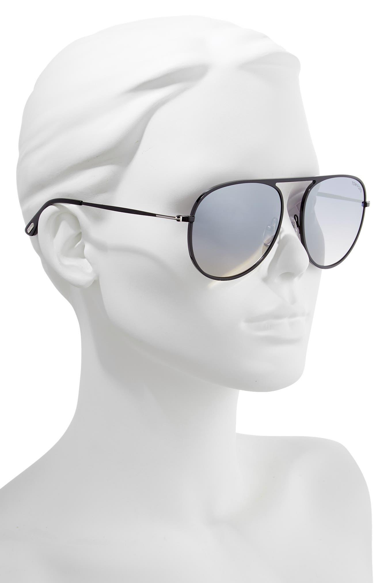 59mm Aviator Sunglasses,                             Alternate thumbnail 2, color,                             SHINY BLACK/ SMOKE MIRROR