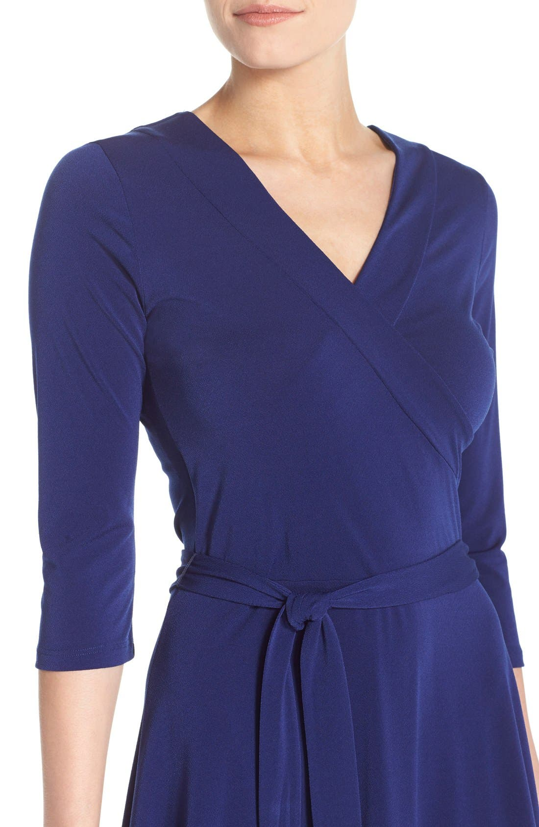 Jersey Faux Wrap Dress,                             Alternate thumbnail 5, color,                             416