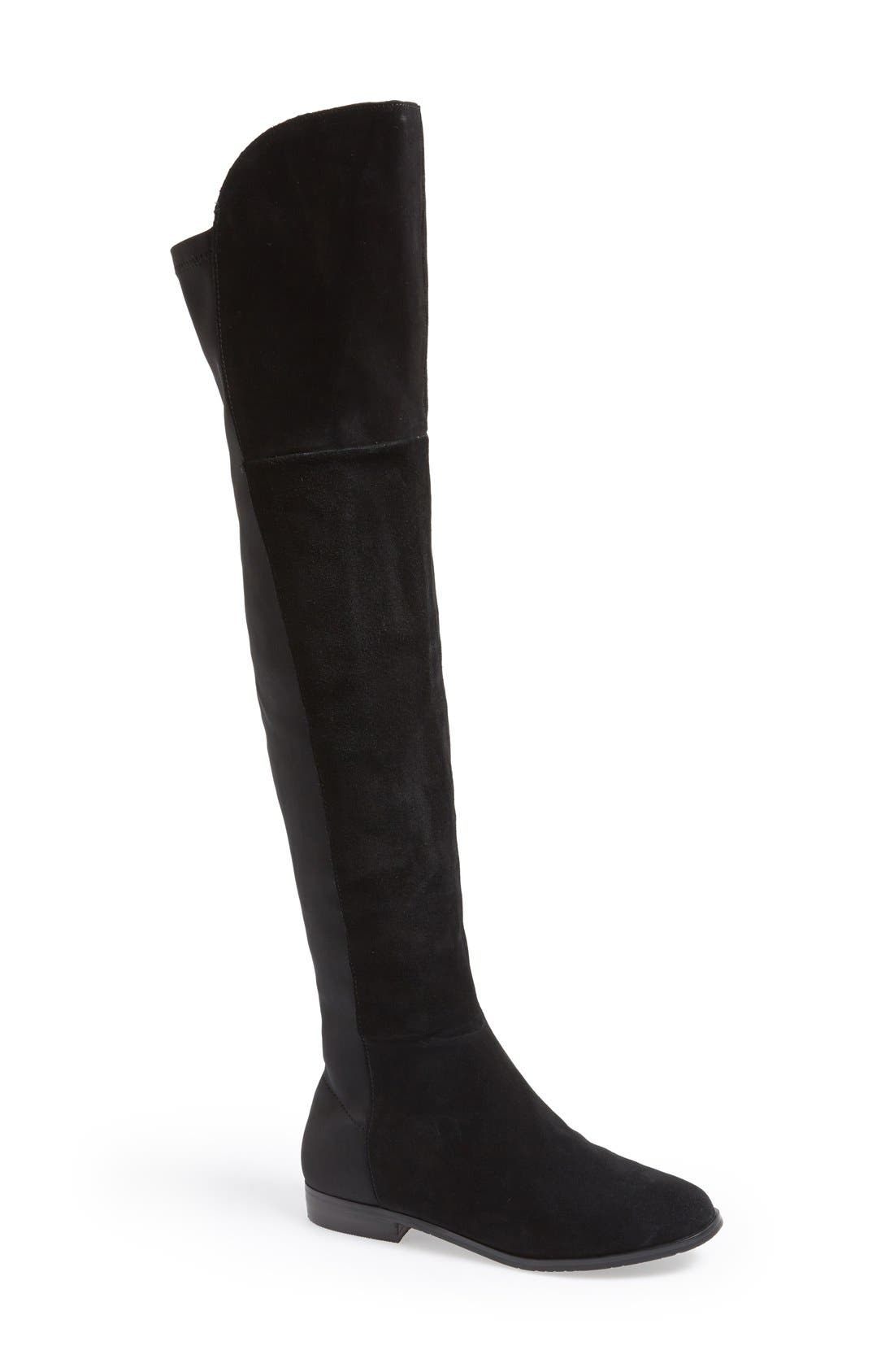 'Riley' Stretch Back Suede Over The Knee Boot,                             Main thumbnail 1, color,                             001