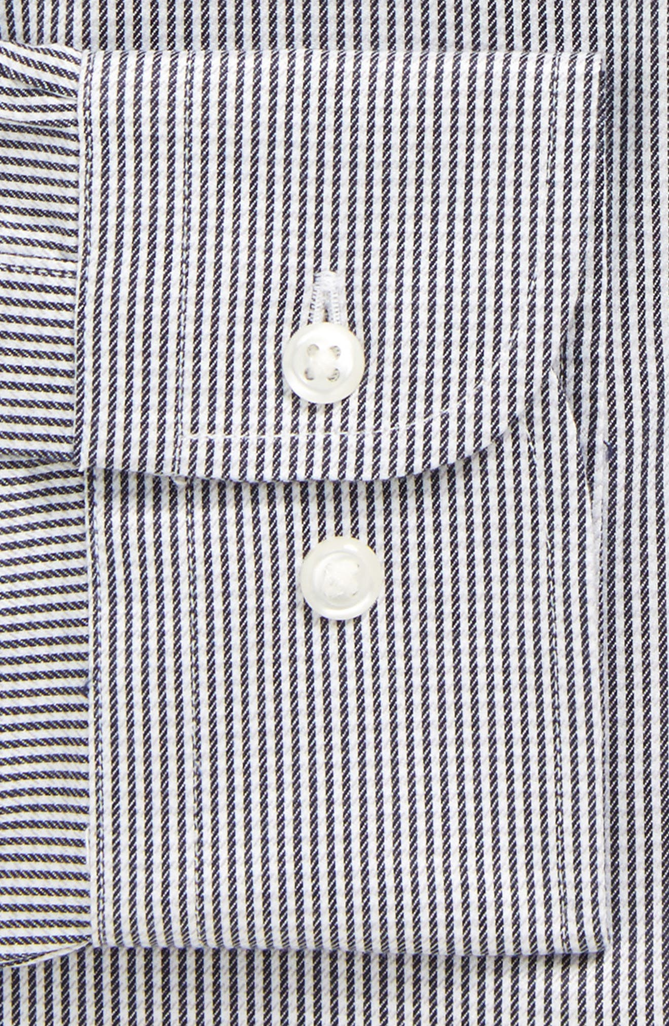 Smartcare<sup>™</sup> Extra Trim Fit Stripe Dress Shirt,                             Alternate thumbnail 6, color,                             001