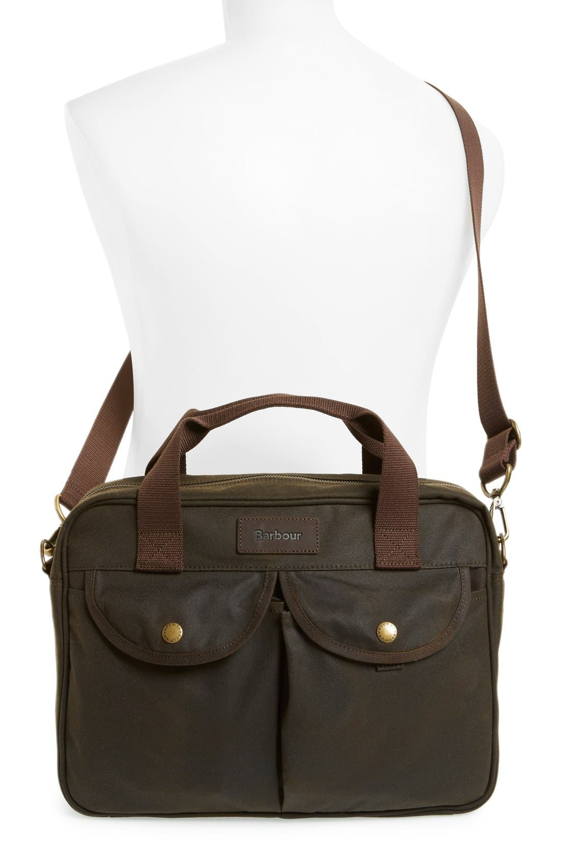 'Longthorpe' Waxed Canvas Laptop Bag,                             Alternate thumbnail 2, color,                             340