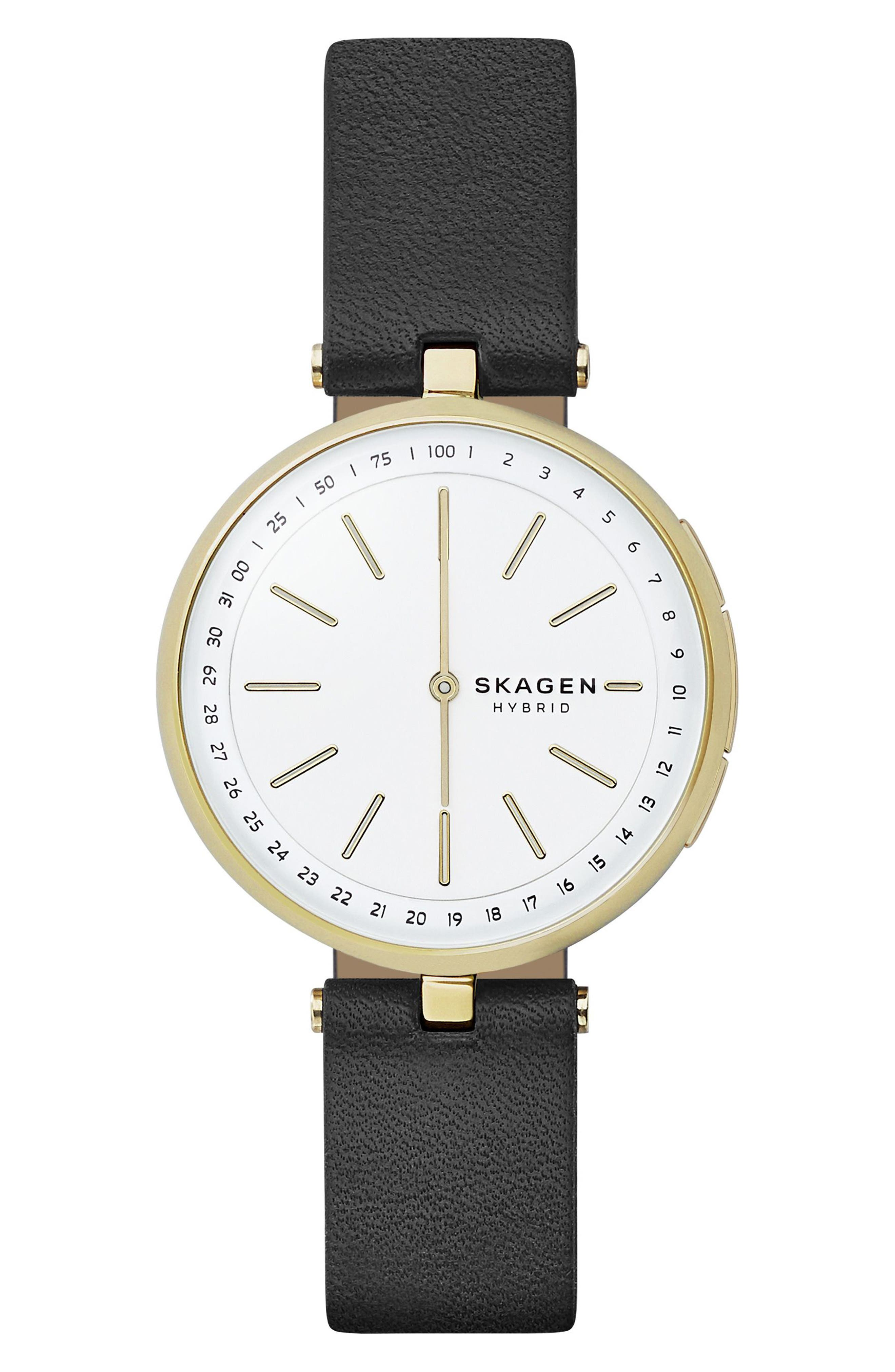 Signatur Connected T-Bar Leather Strap Hybrid Smart Watch, 36mm,                         Main,                         color, 001