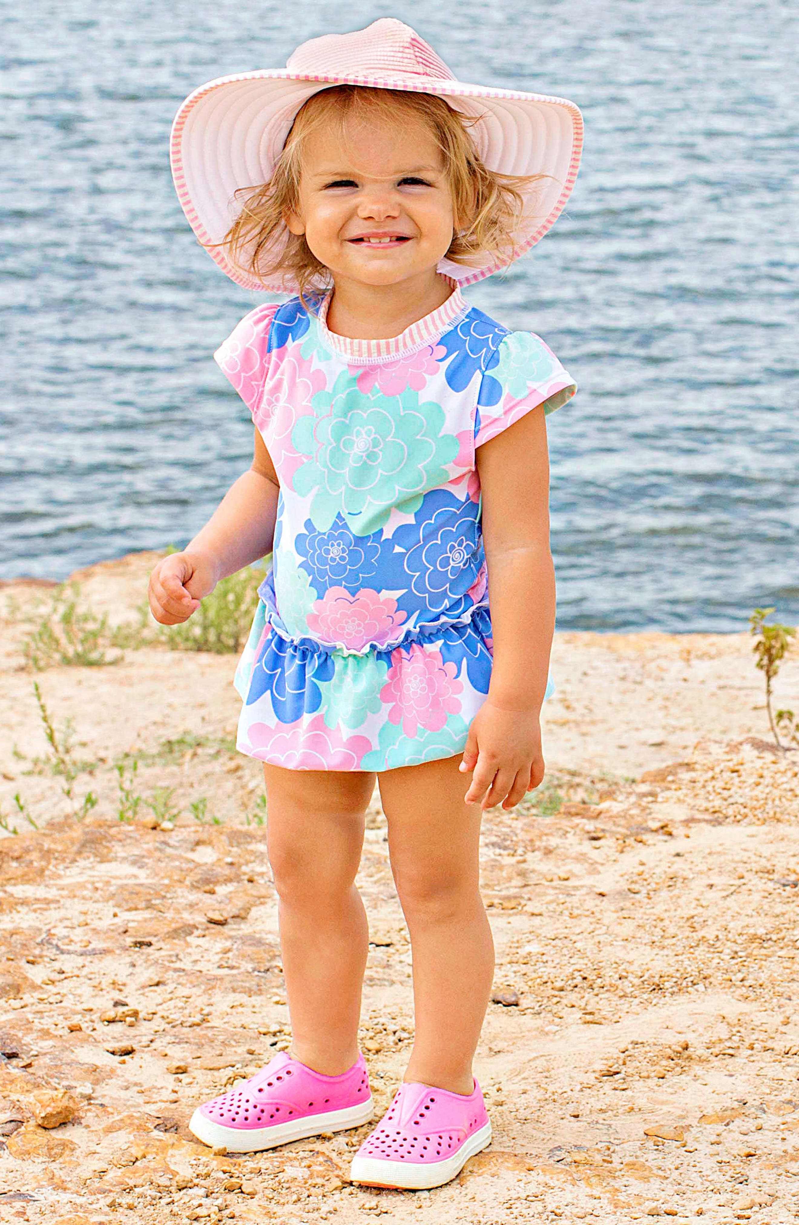 Ruffle Butts Pastel Petals One-Piece Swimsuit & Hat Set,                             Alternate thumbnail 3, color,                             WHITE