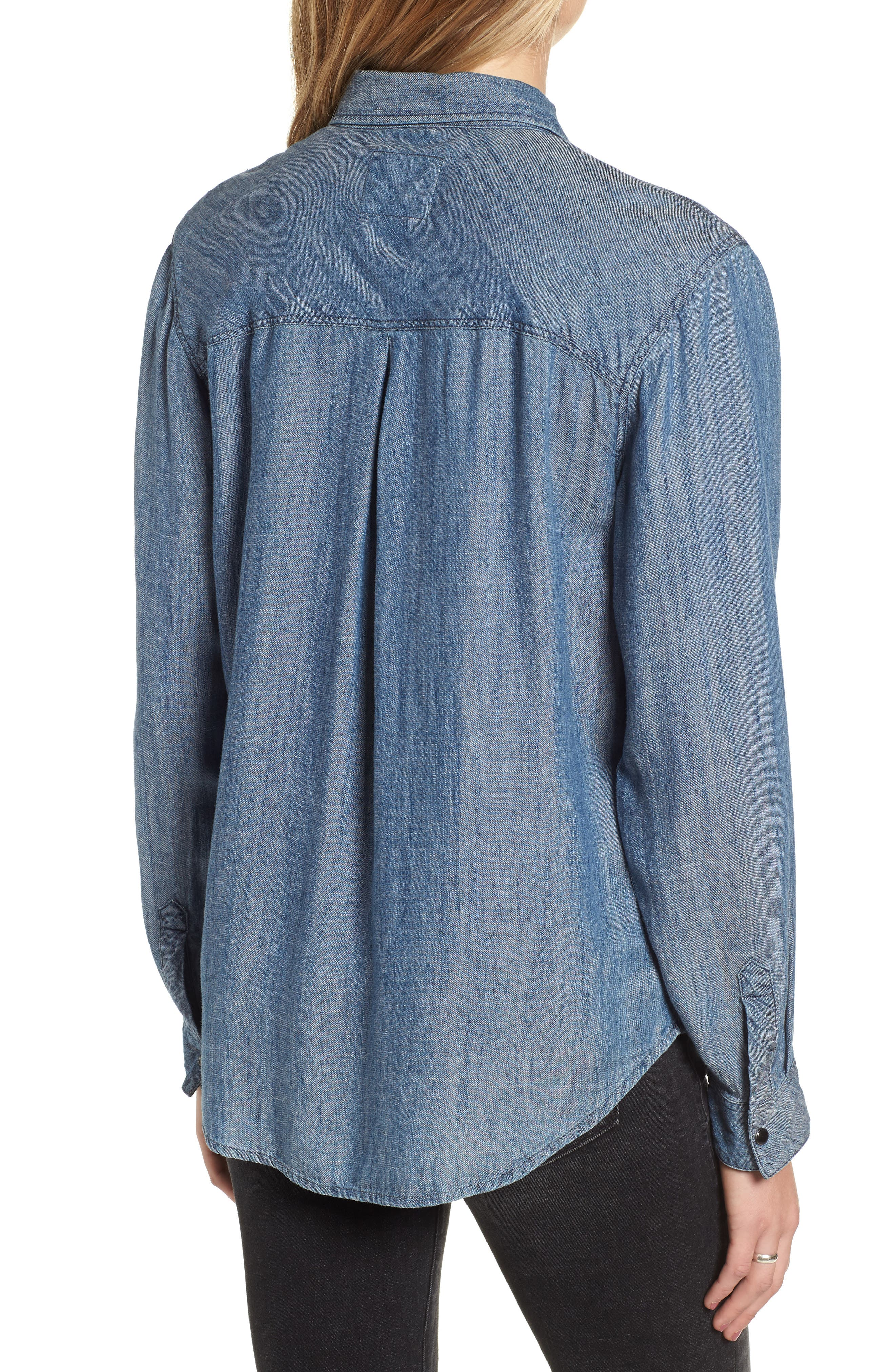 Cass Chambray Top,                             Alternate thumbnail 2, color,                             DARK VINTAGE WASH