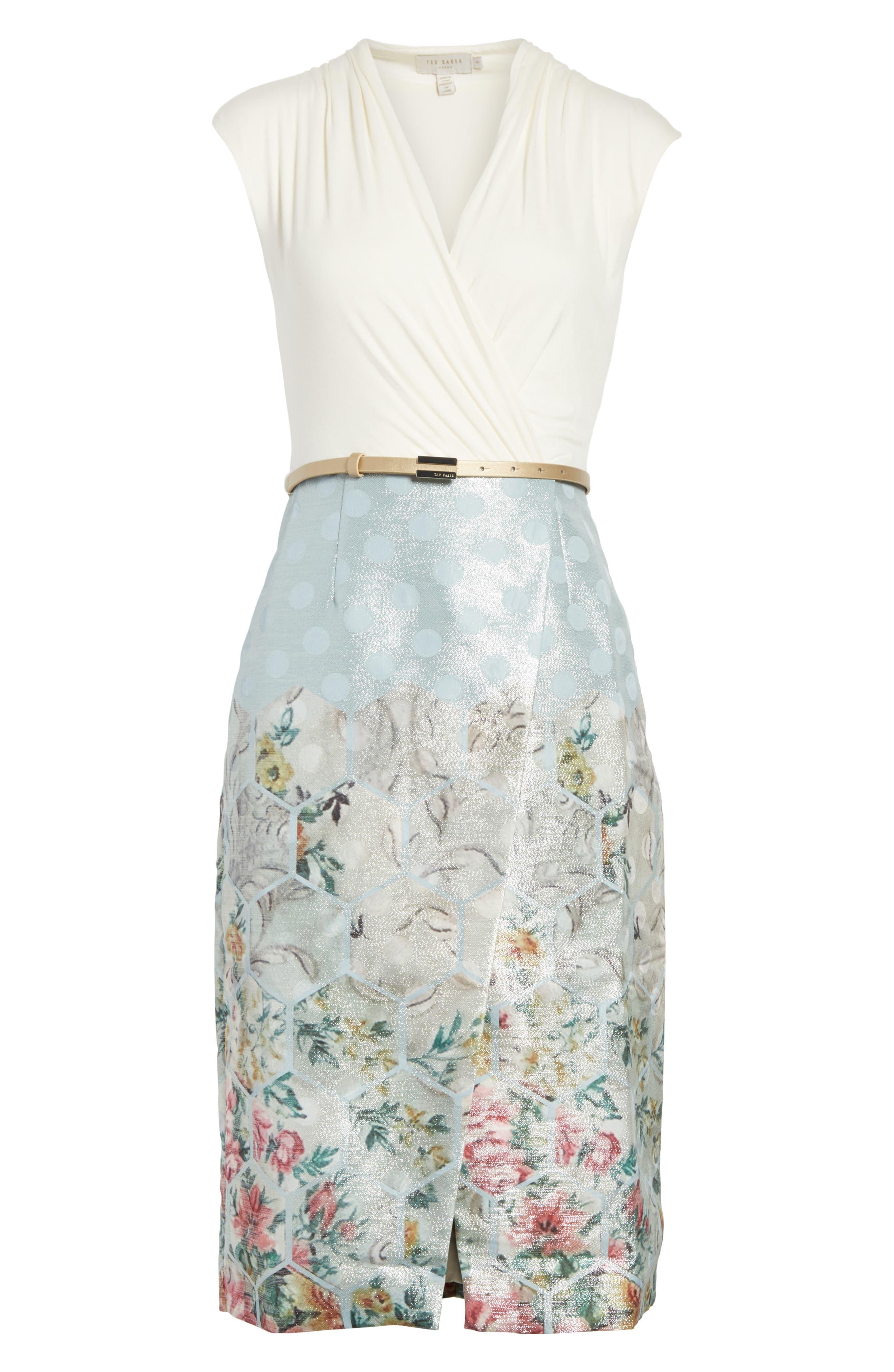 Patchwork Faux Wrap Midi Dress,                             Alternate thumbnail 6, color,                             451