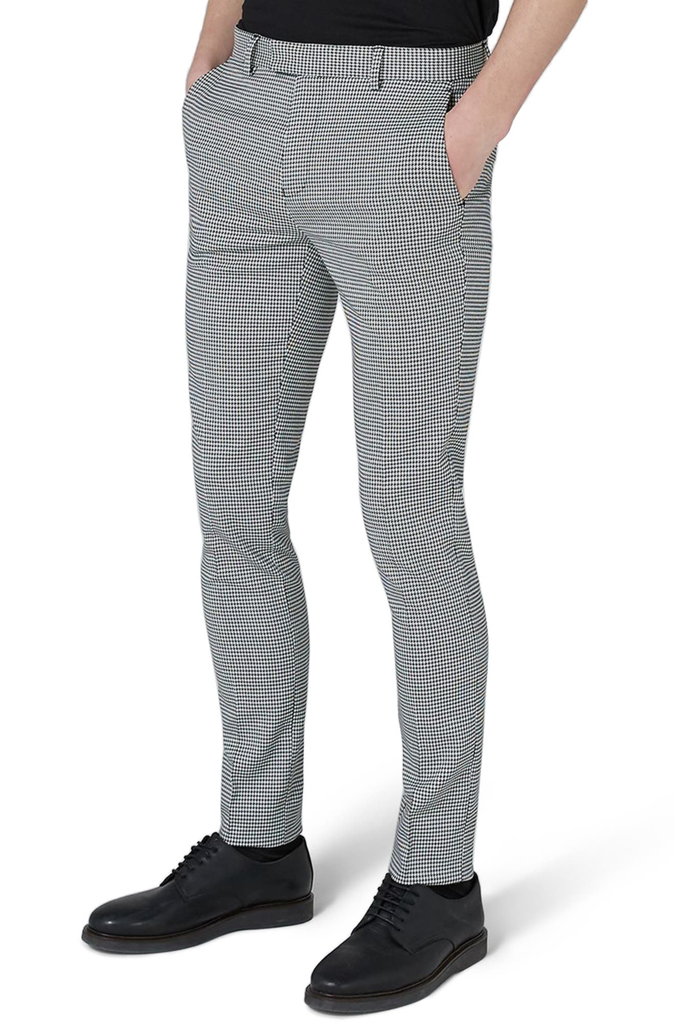 Ultra Skinny Fit Houndstooth Suit Trousers,                             Main thumbnail 1, color,