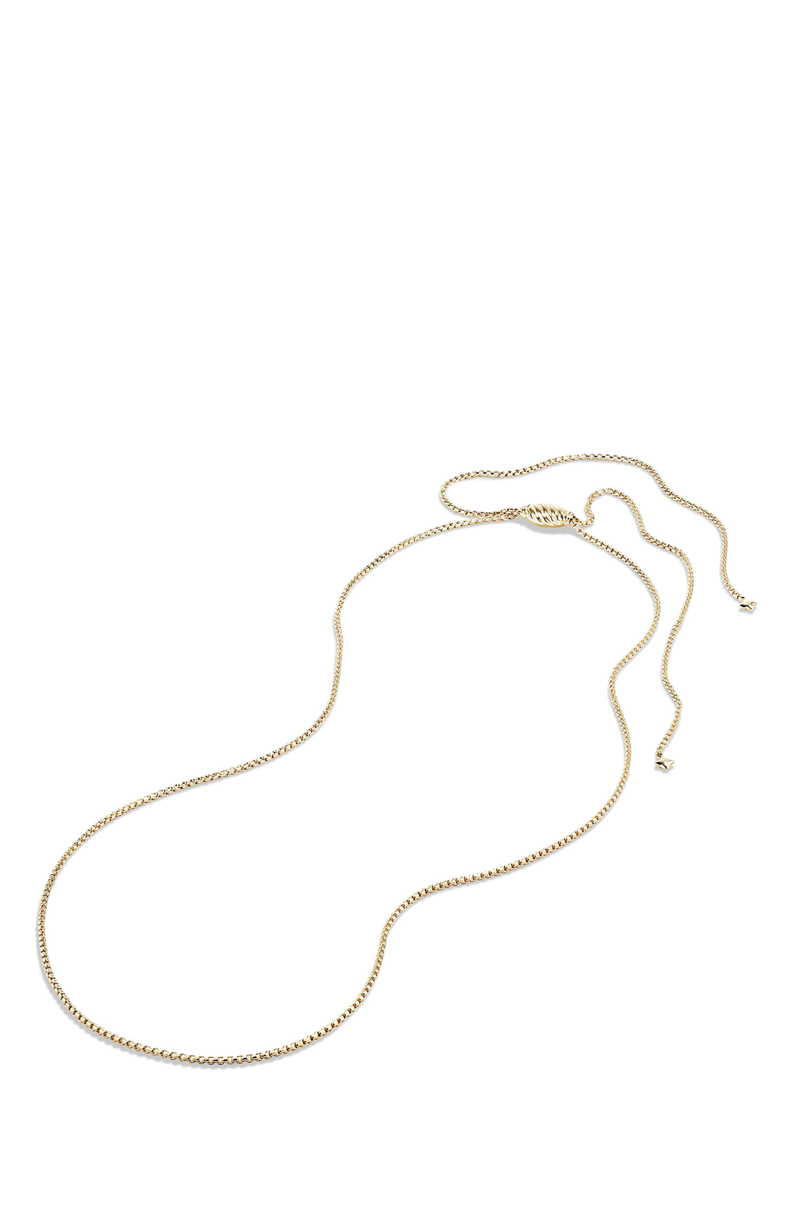 Box Chain Necklace in 18K Gold,                             Alternate thumbnail 3, color,                             YELLOW GOLD