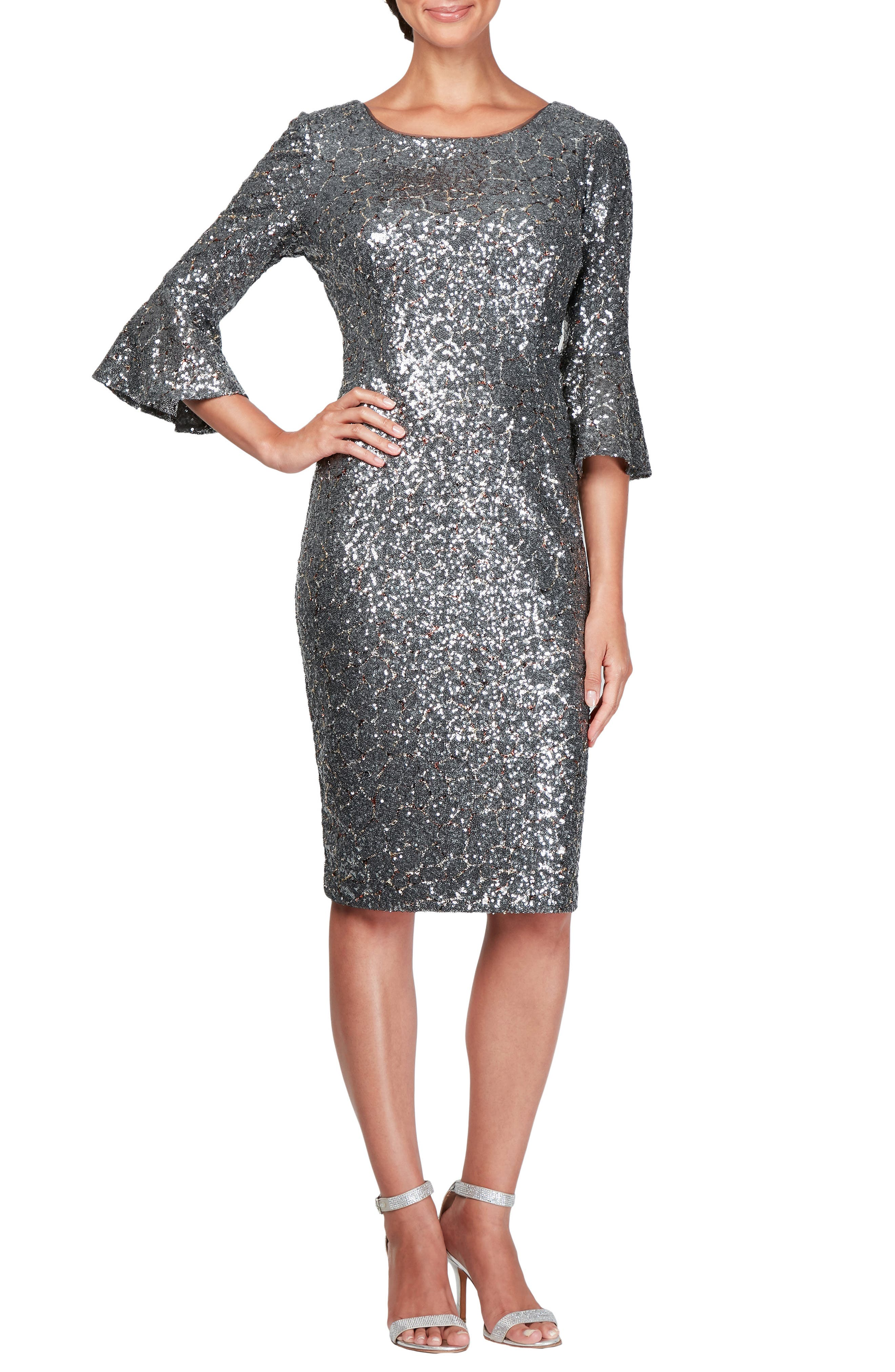 Sequin Bell Cuff Cocktail Sheath Dress,                         Main,                         color, GUNMETAL