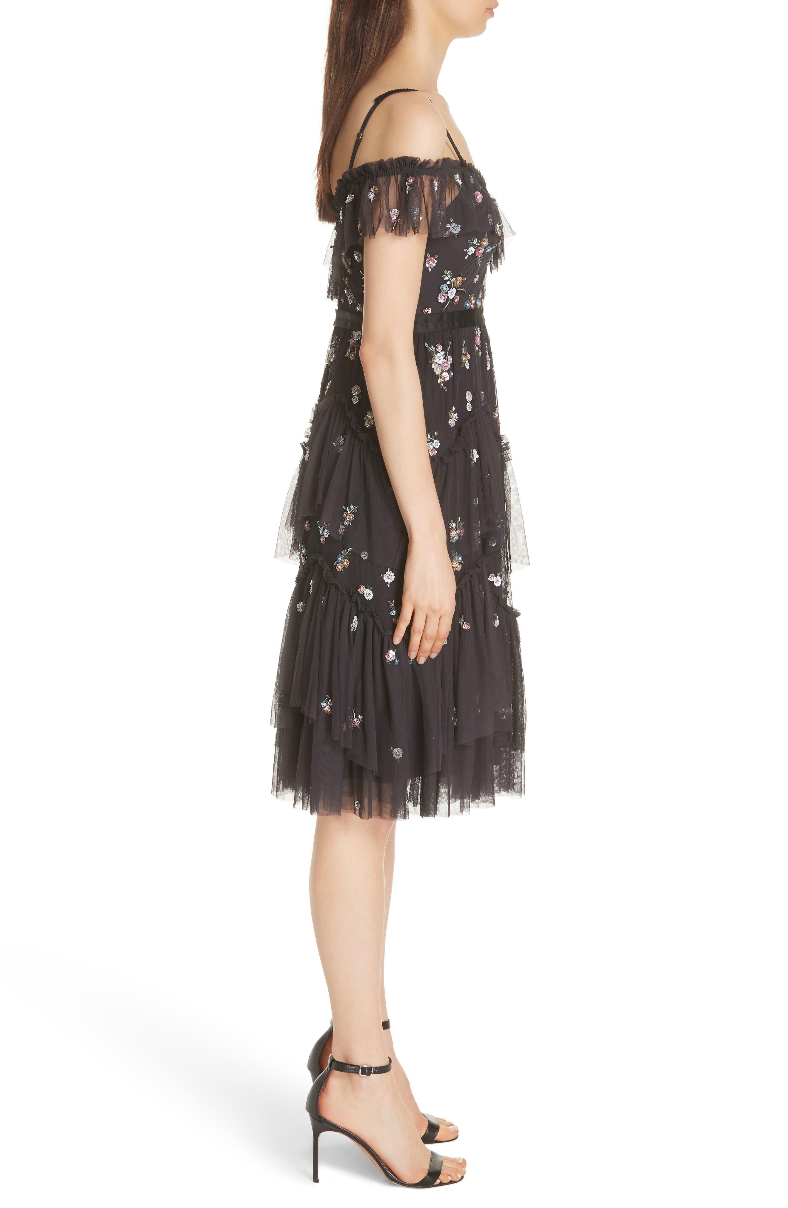 Lustre Cold Shoulder Dress,                             Alternate thumbnail 3, color,                             GRAPHITE