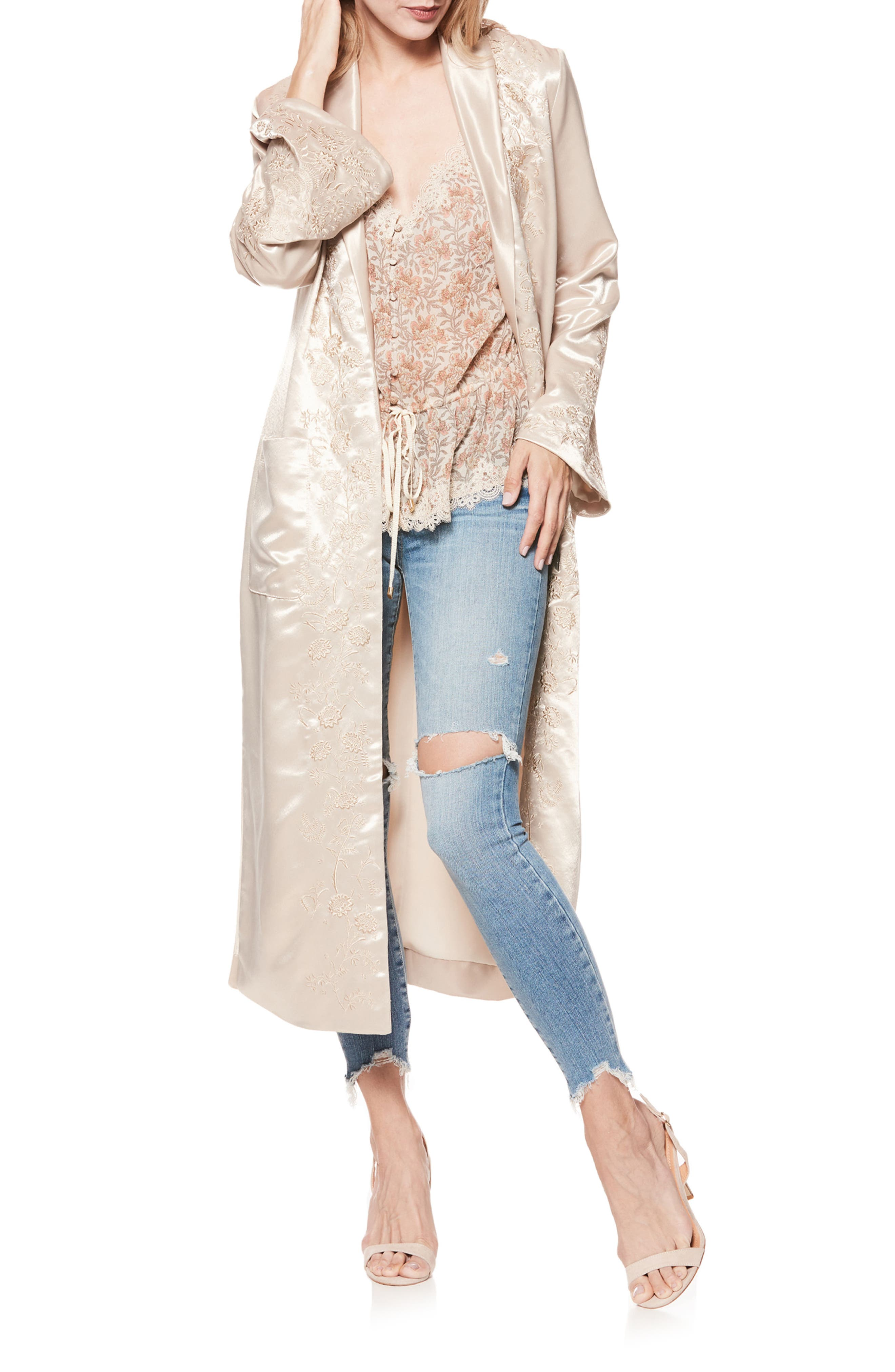 Maryella Embroidered Satin Duster,                             Alternate thumbnail 3, color,                             670