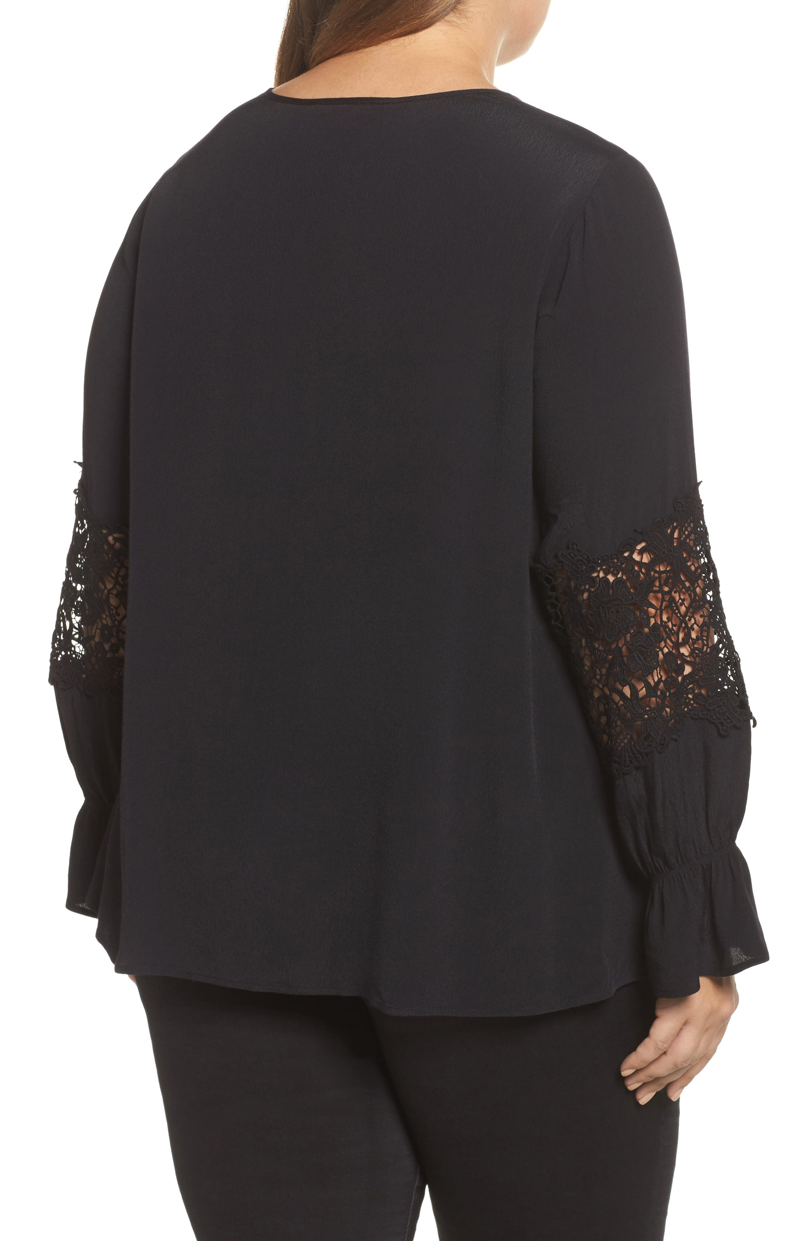 Bell Sleeve Lace Top,                             Alternate thumbnail 2, color,                             002