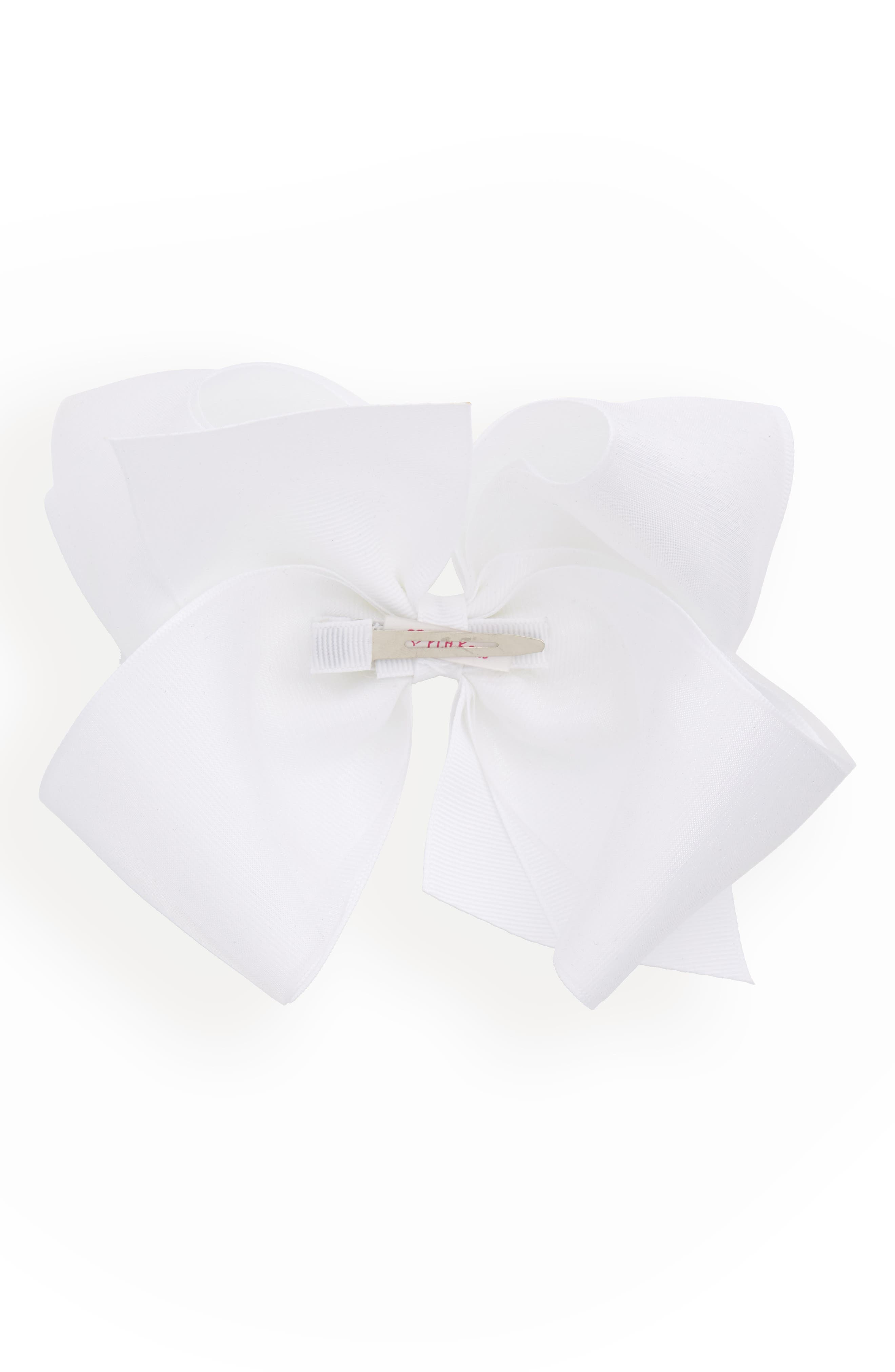 King Organza Overlay Bow Hair Clip,                             Alternate thumbnail 3, color,                             WHITE