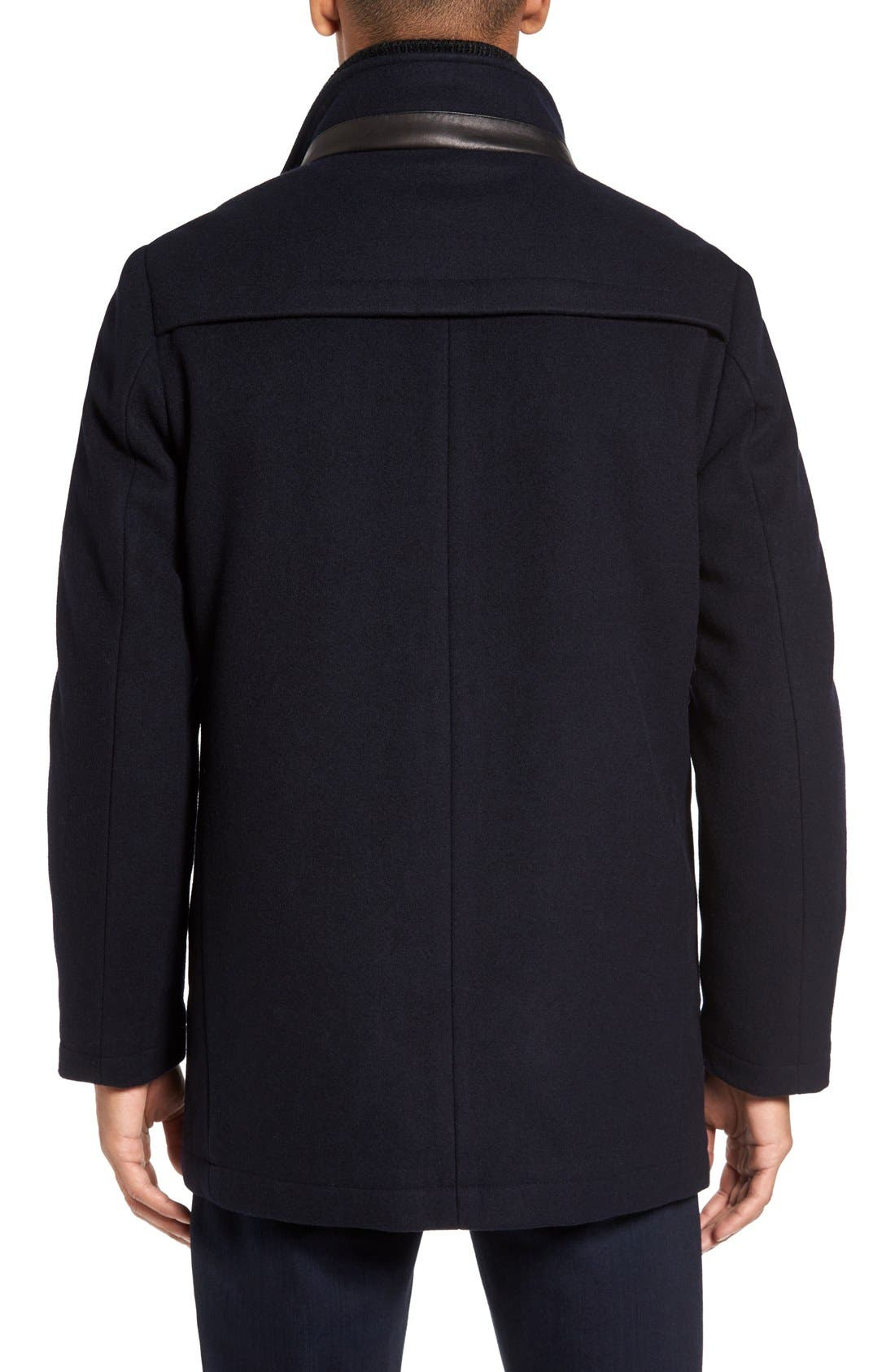 VINCE CAMUTO,                             Classic Wool Blend Car Coat with Inset Bib,                             Alternate thumbnail 2, color,                             NAVY