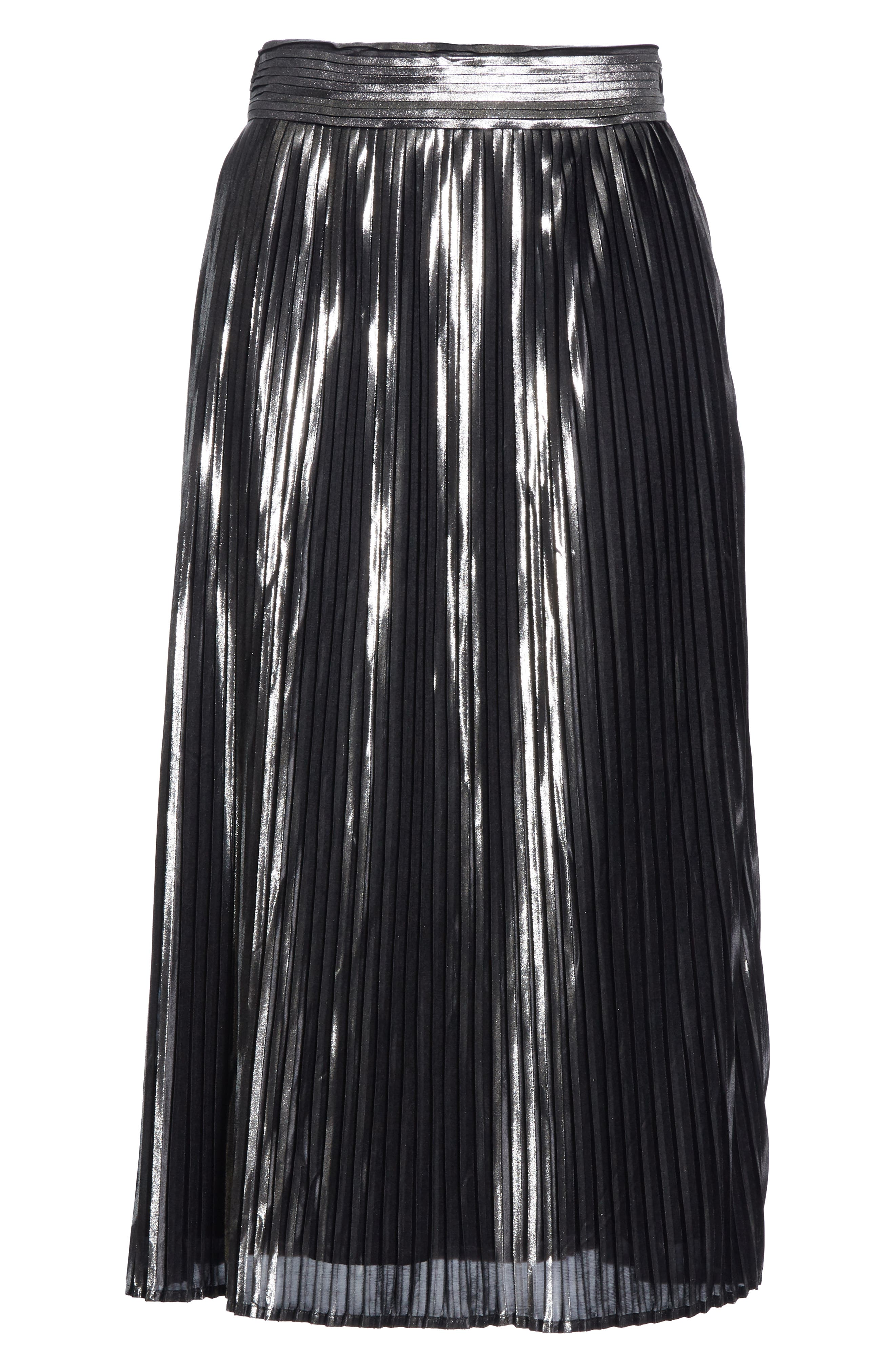 Palace Micropleat Metallic Skirt,                             Alternate thumbnail 6, color,                             ARGENT