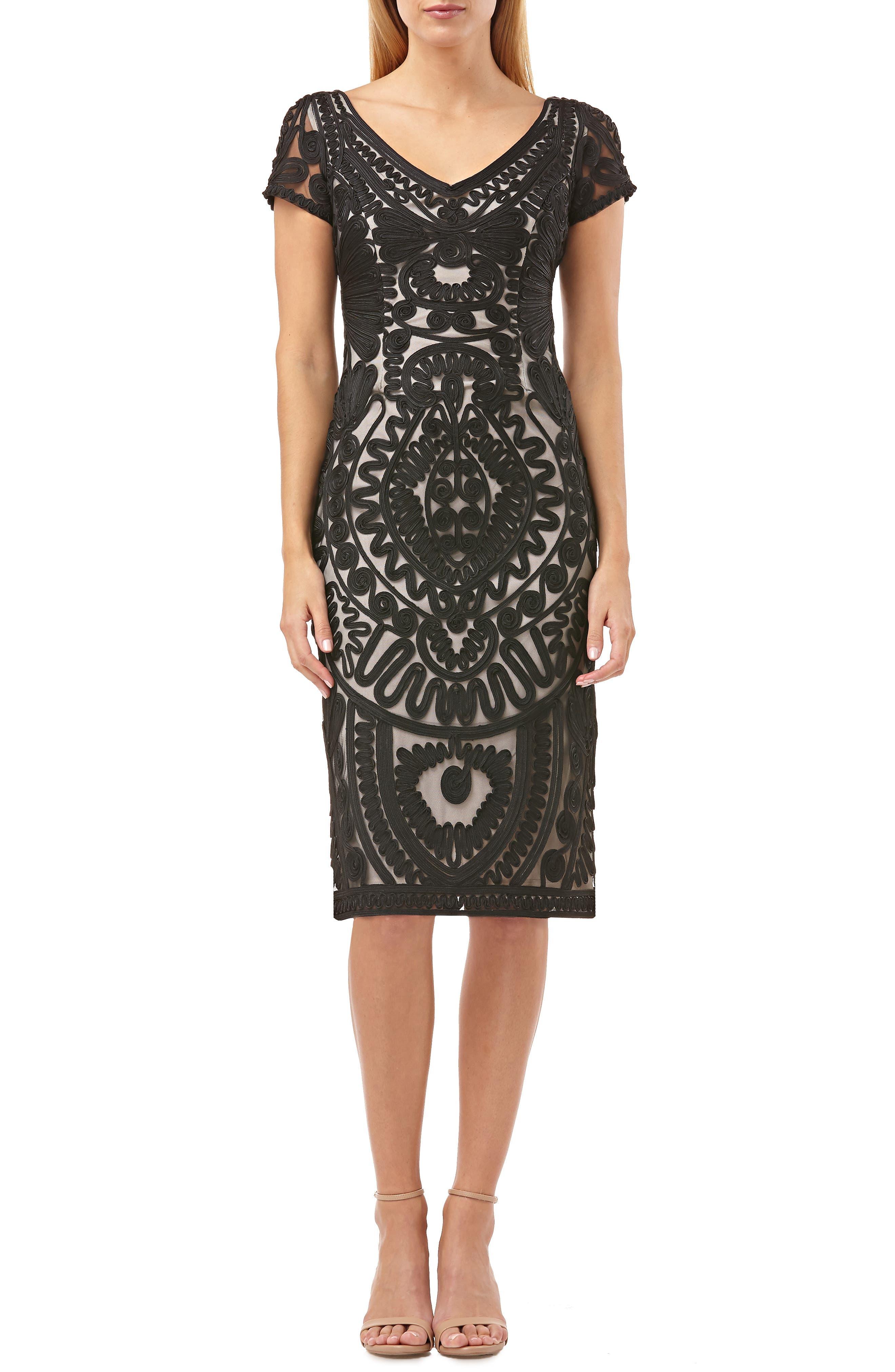 Short Sleeve Soutache Mesh Cocktail Dress,                             Main thumbnail 1, color,                             BLACK/ VANILLA