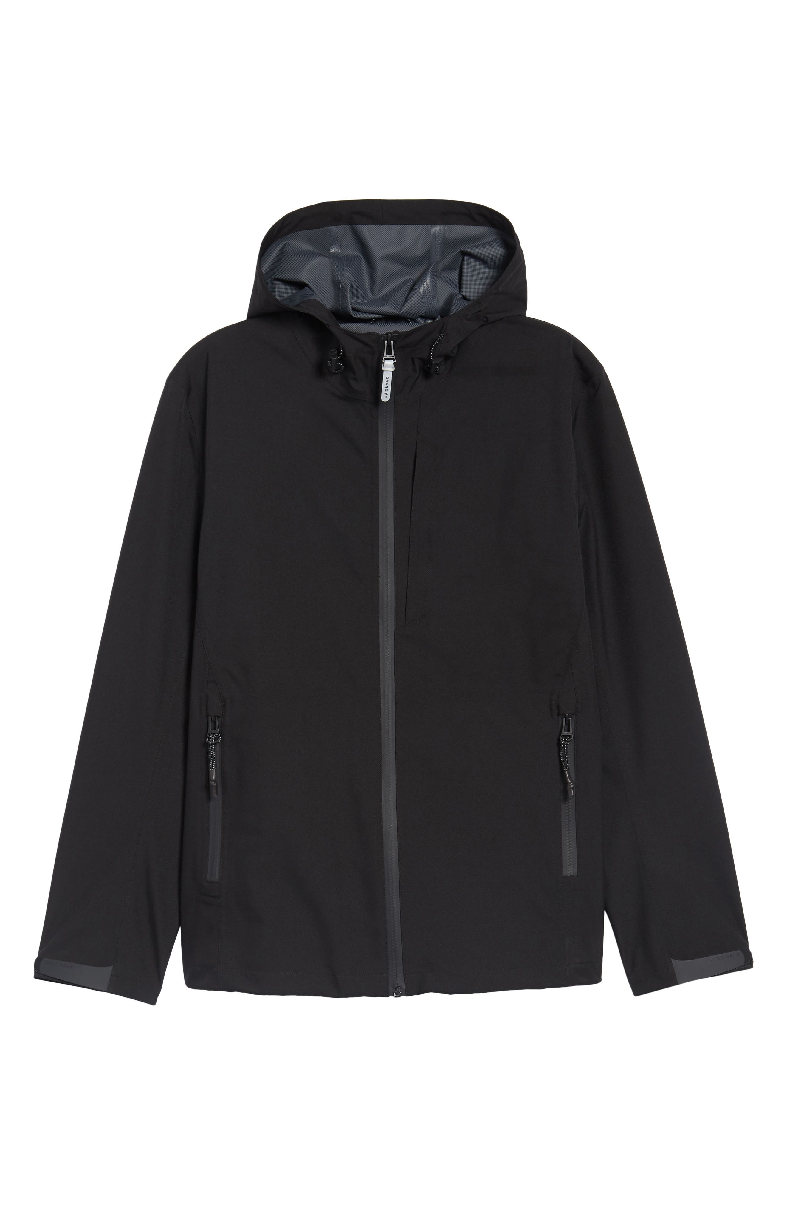 Seam Sealed Packable Jacket,                             Alternate thumbnail 5, color,                             BLACK