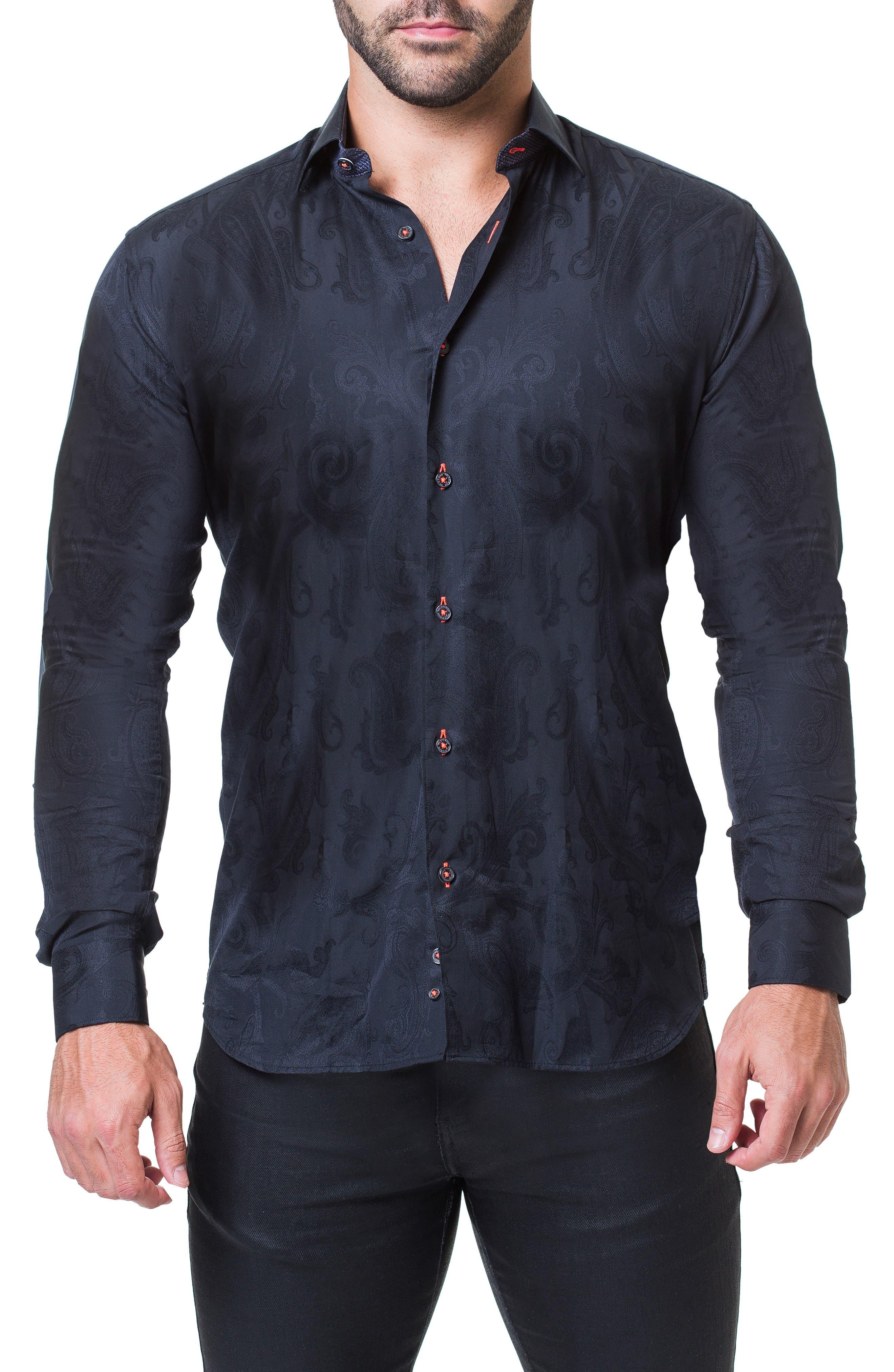 Fibonacci Trim Fit Pattern Sport Shirt,                         Main,                         color, GREY